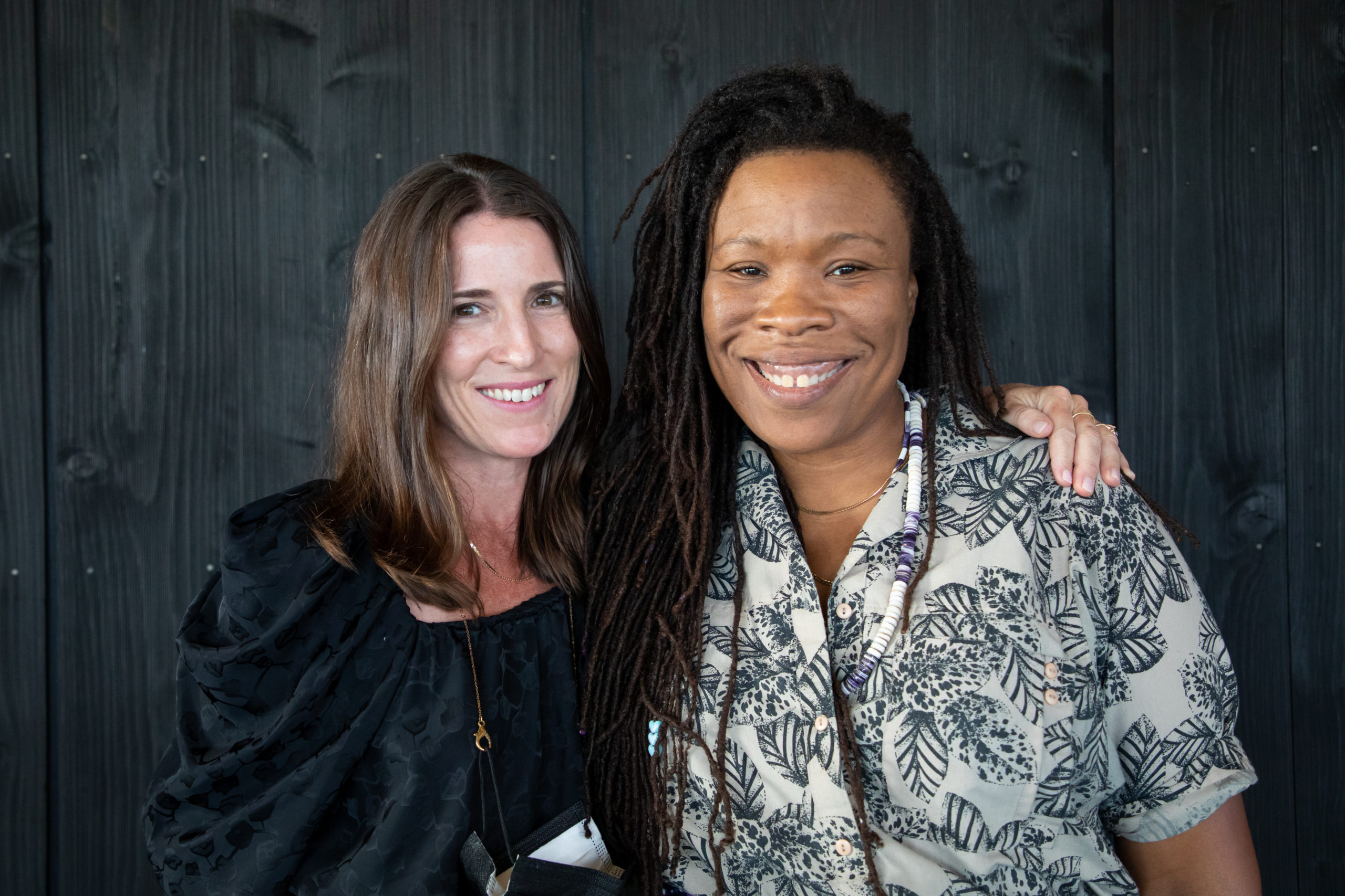 Parrish Art Museum director Kelly Taxter, left, with artist Tomashi Jackson.