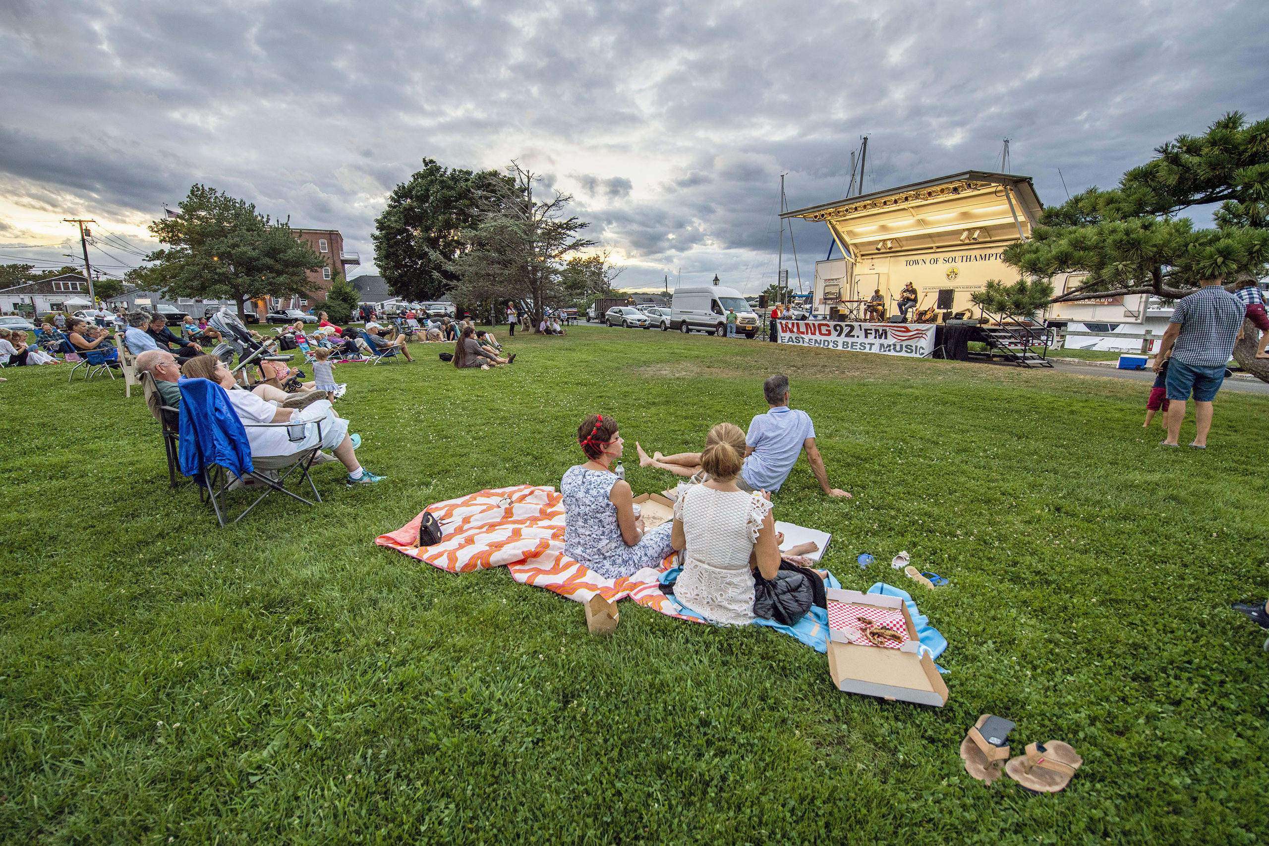 Inda Eaton performs as part of the WLNG series of concerts in Marine Park in Sag Harbor on August 19.   MICHAEL HELLER