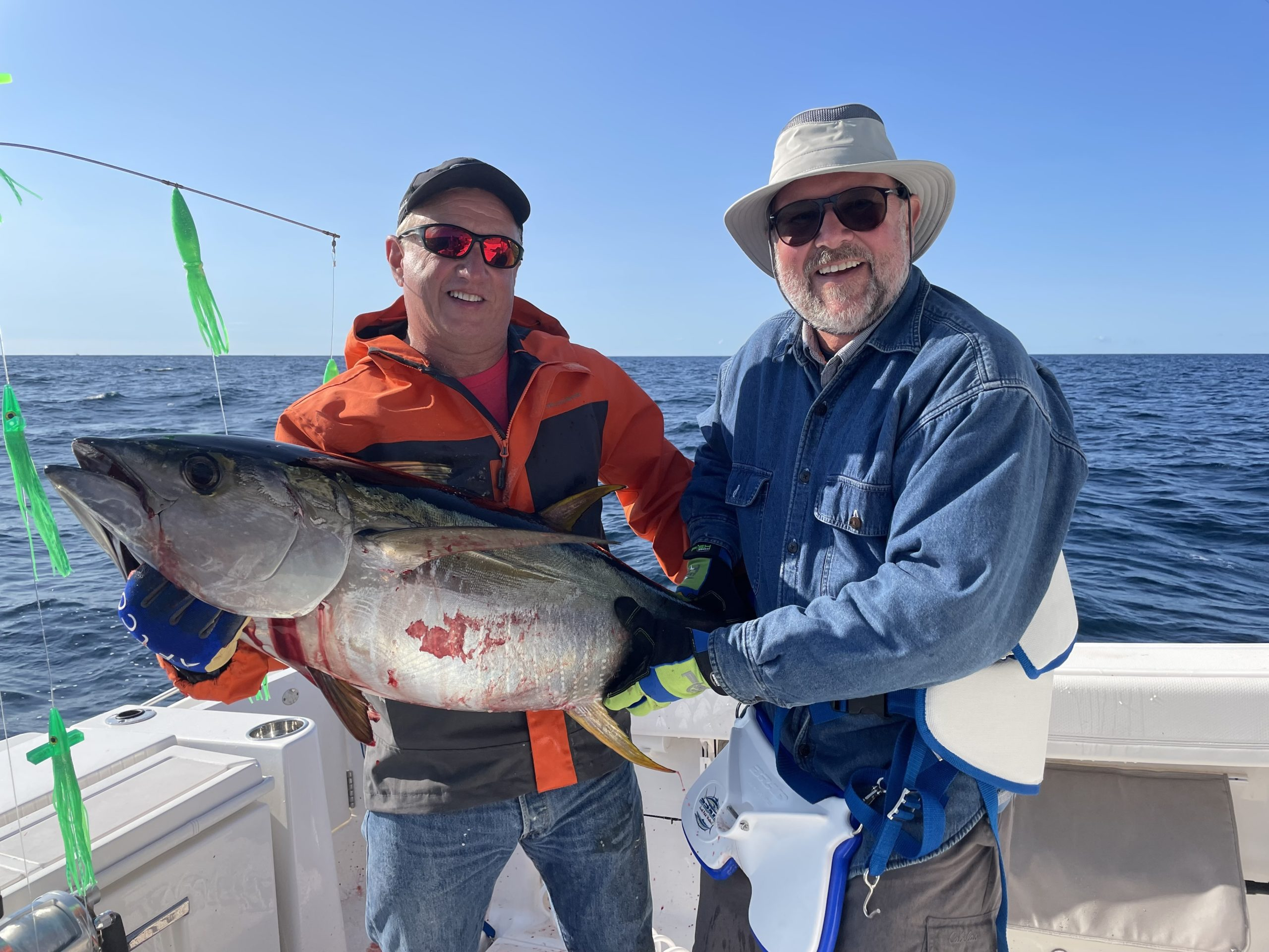Drew Lanzetta and Ken Renkens with a nice inshore yellowfin caught out of Shinnecock Inlet.