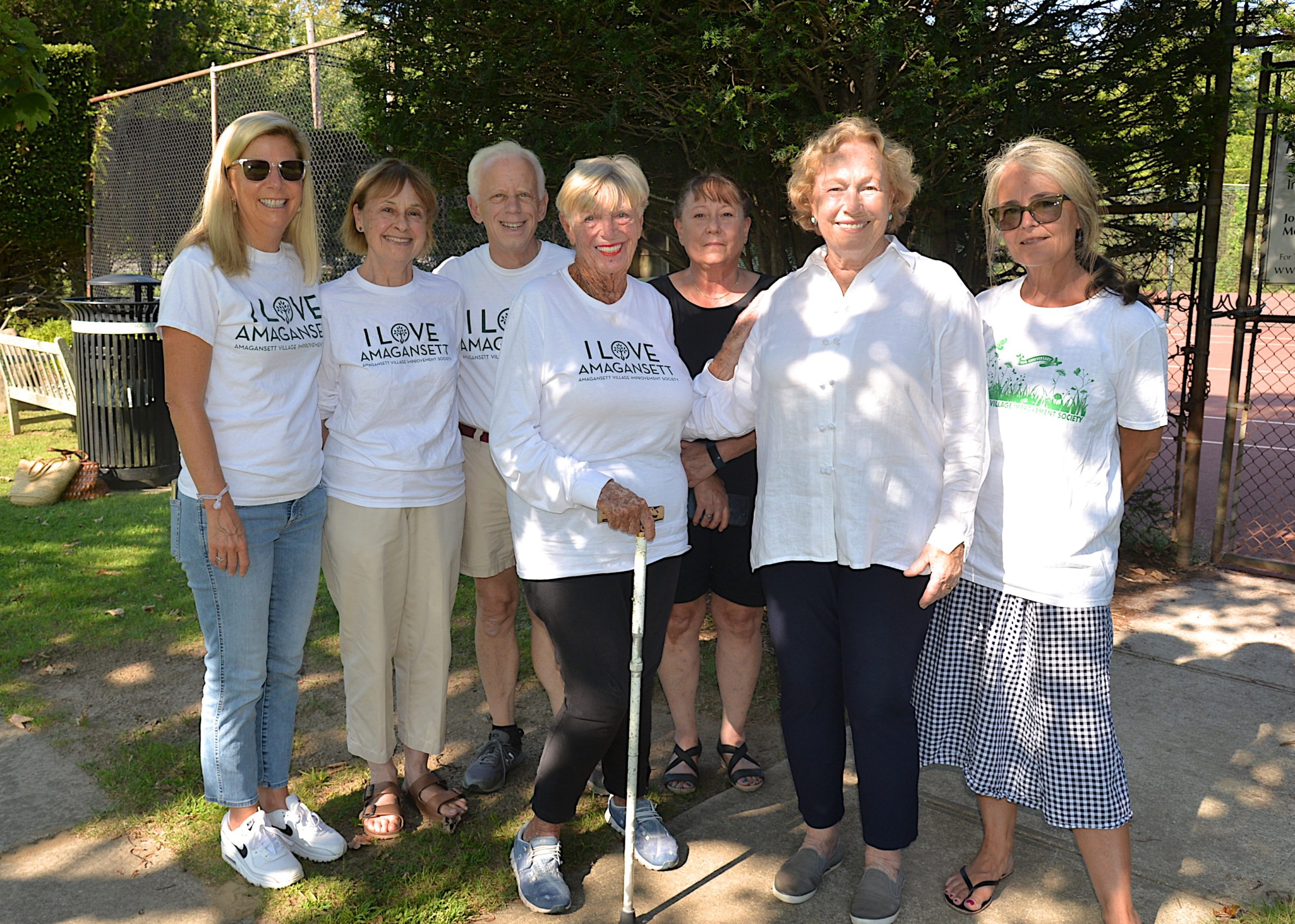 Members of the Amagansett Village Improvement Society, from left, Kim Slater, Shari Thompson, Victor Gelb, Cam Gelb, Joan Tulp, Susan Jaxheimer and Marguerite Gualtieri, are celebrating the group's centennial this fall.