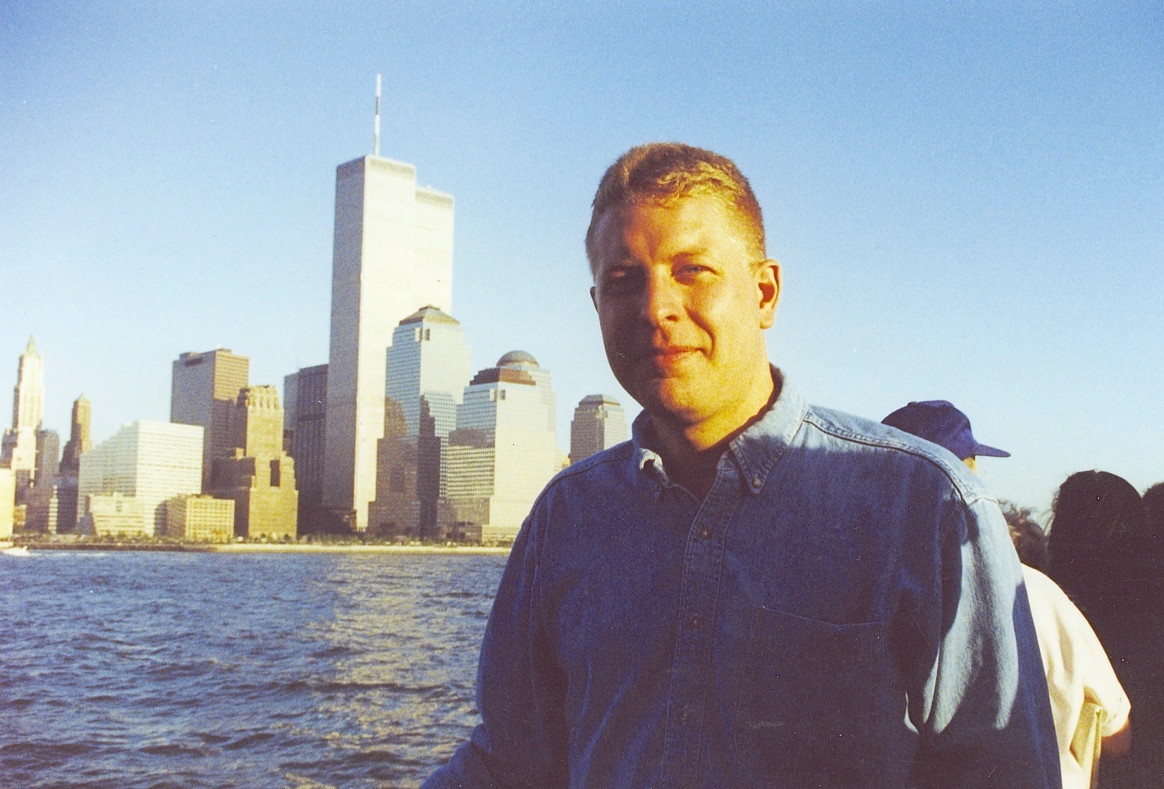Art Jones with the Twin Towers in the background.