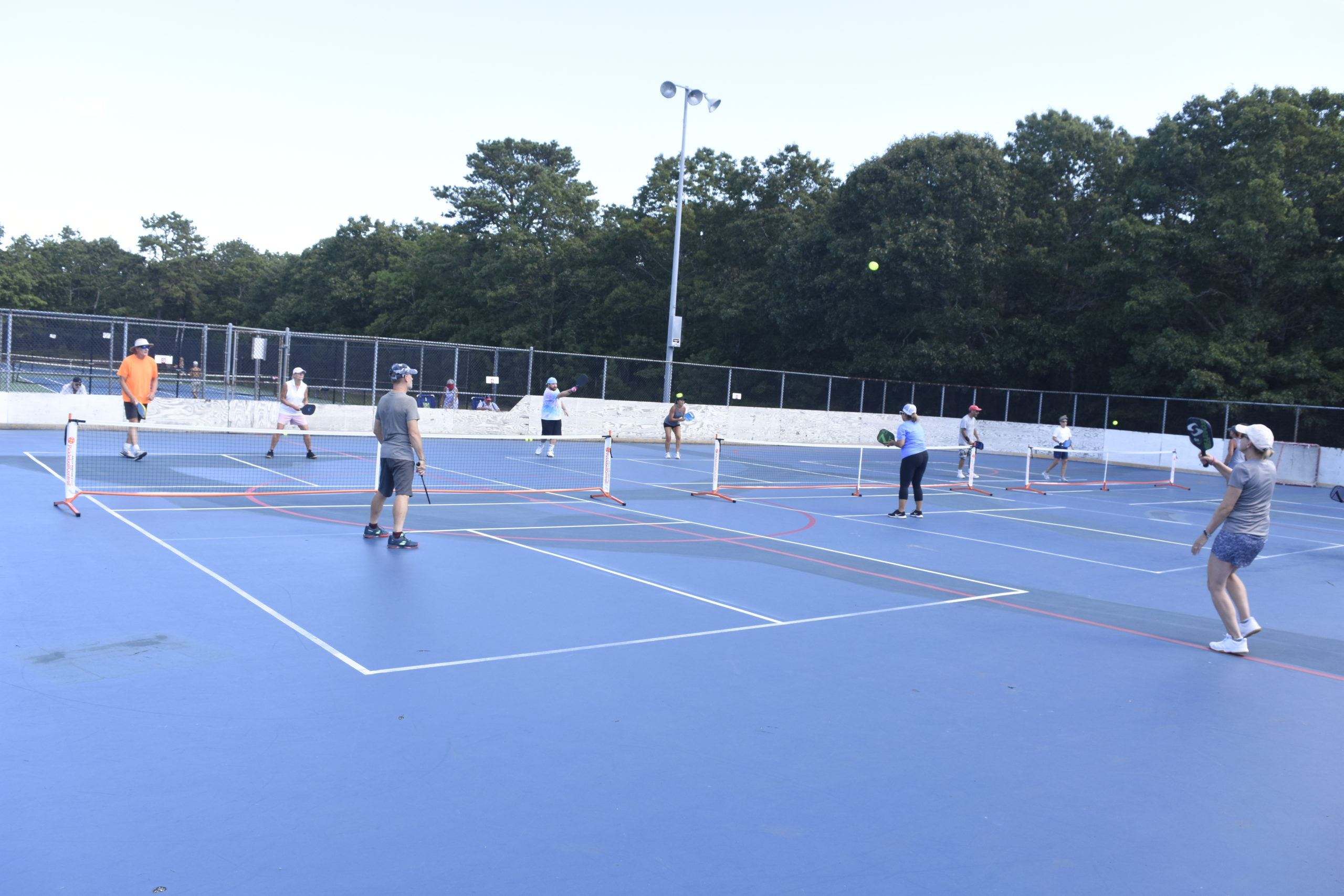 Over 110 people gathered at Red Creek Park in Hampton Bays this past weekend to partake in a pickleball tournament.