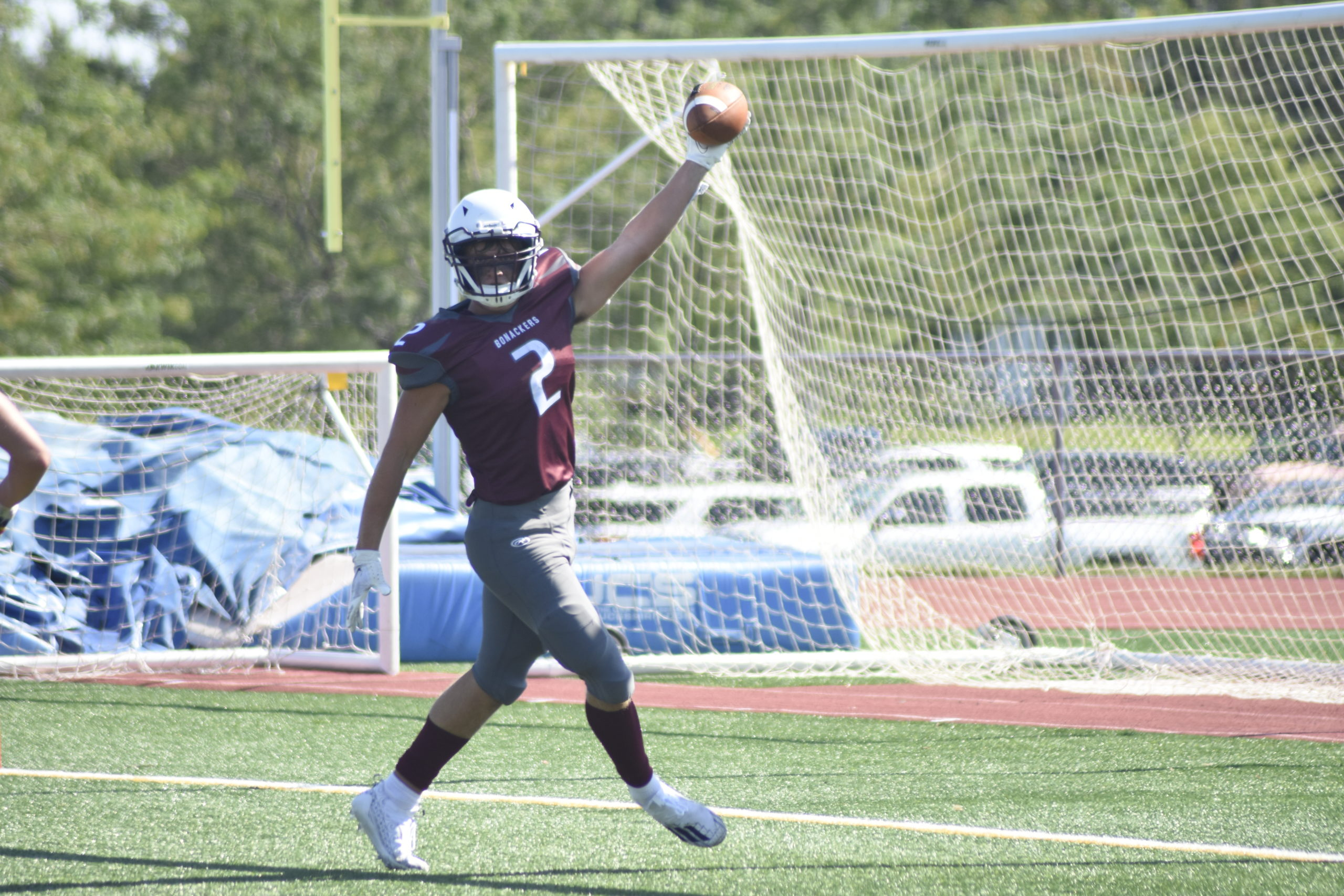 Finn Byrnes scores the first of three touchdowns in the Bonackers 42-14 season-opening victory over Hampton Bays on Saturday, September 11.