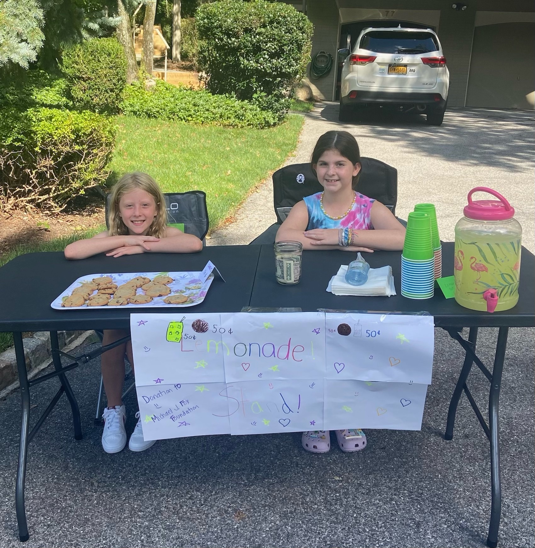 Bret Parker's niece Addison Himelstein and friend Ava Brodie were raising money recently for the Michael J. Fox Foundation.