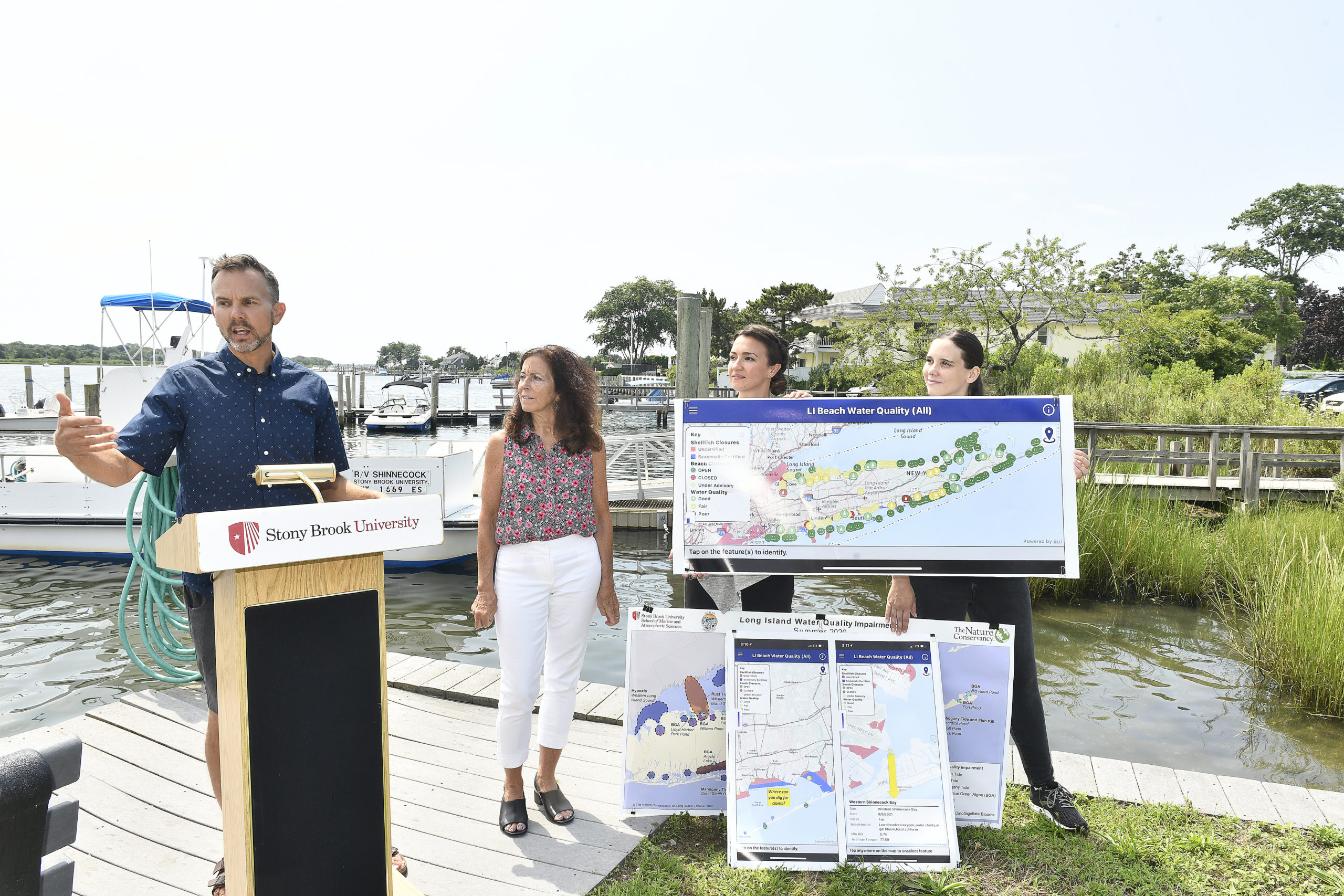Christopher Gobler, Professor of Marine Sciences at Stony Brook University introduces the Long Island Beach and Water Quality App developed by Stony Brook University's School of Marine and Atmospheric Sciences (SoMAS).  DANA SHAW