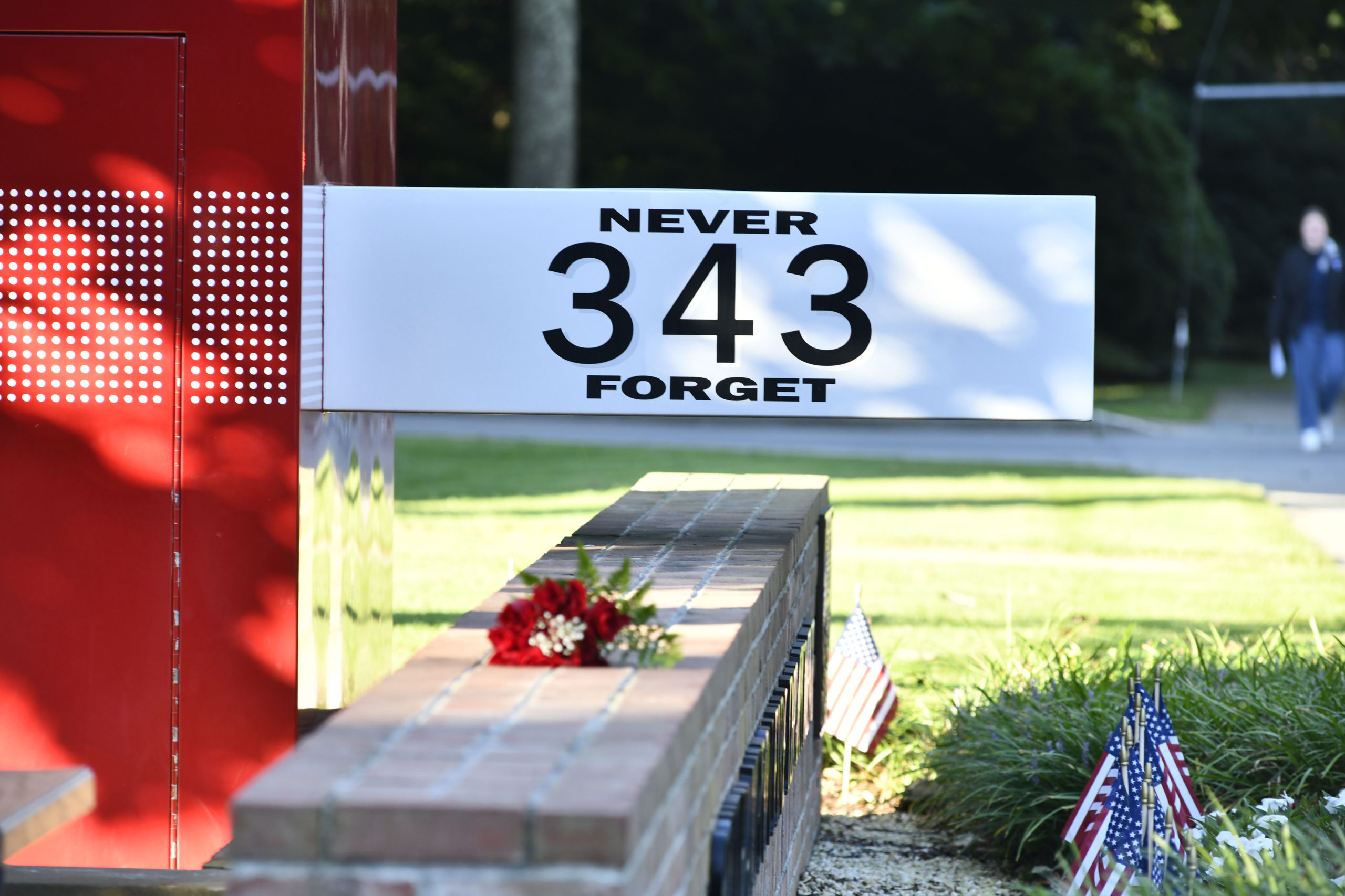 The memorial at the Southampton Fire Department's Hampton Road Station on Saturday.