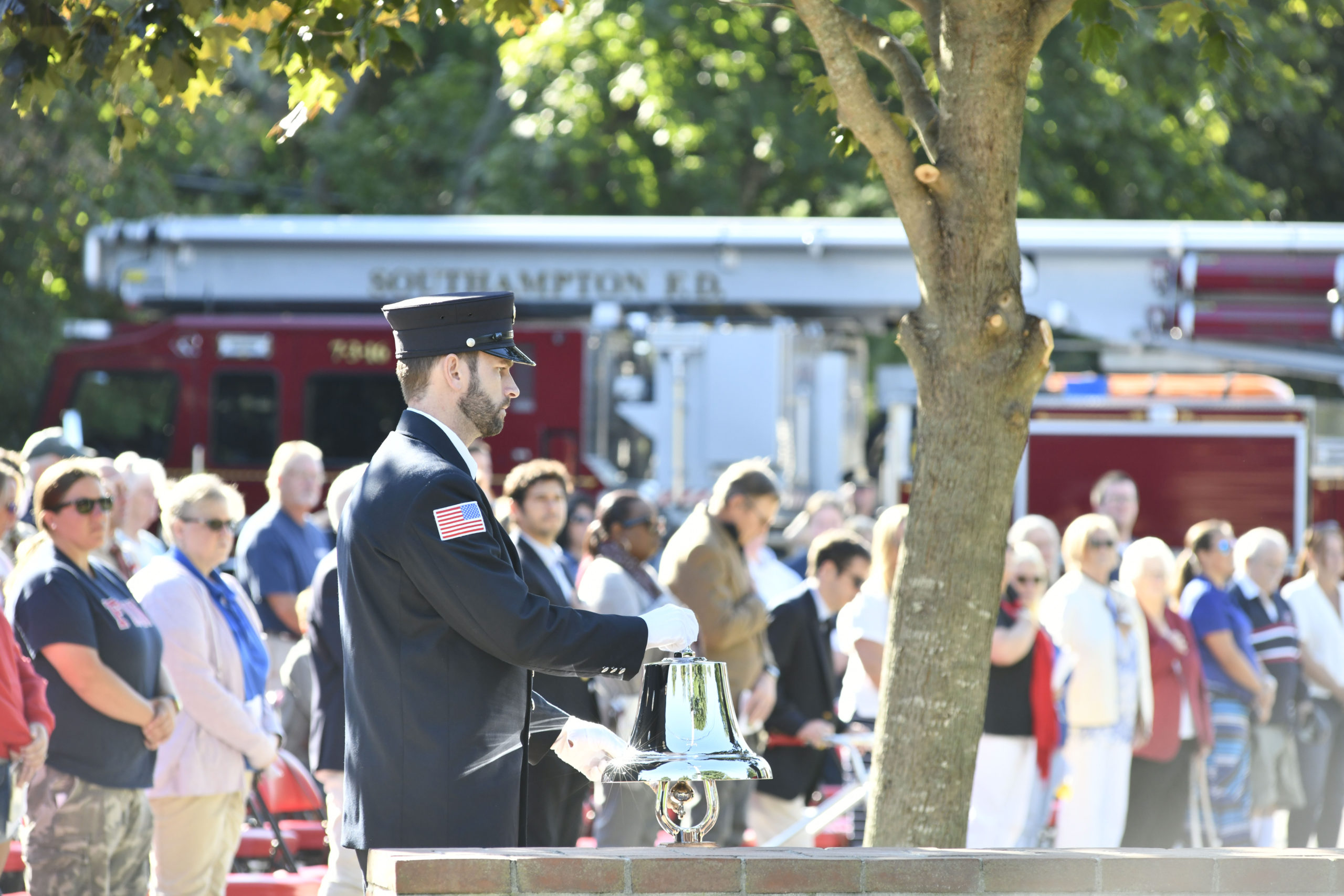 The memorial ceremony at the Southampton Fire Department's Hampton Road Station on Saturday.