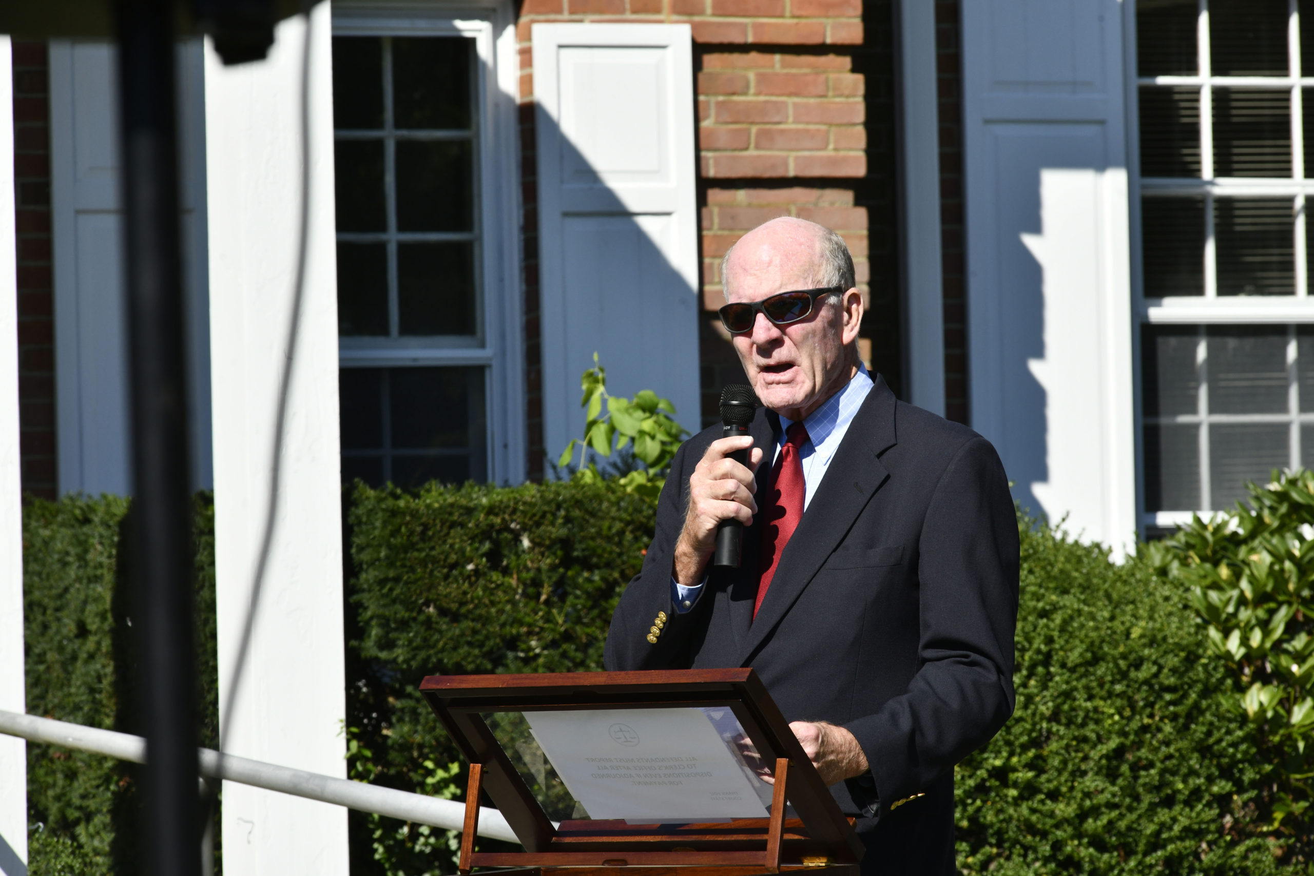 Quogue Village Mayor Peter Sartorius at the memorial rededication ceremony on Saturday.