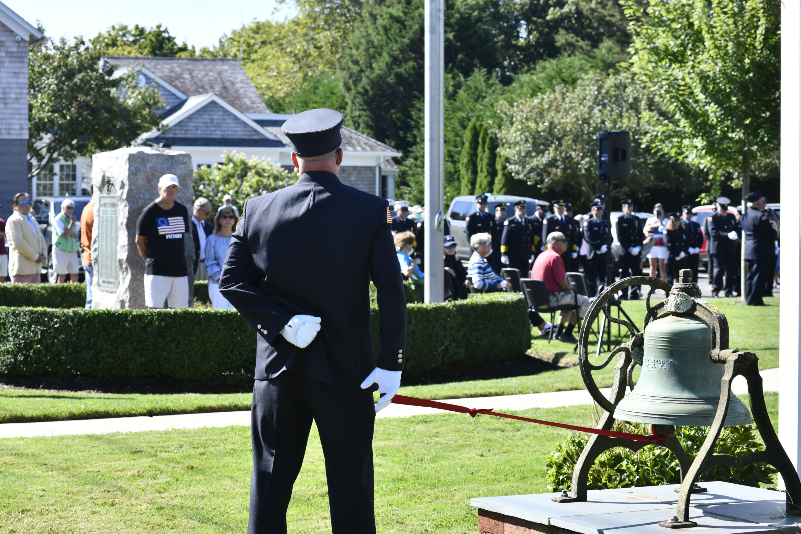 The rededication of the Quogue 9/11 memorial on Saturday.
