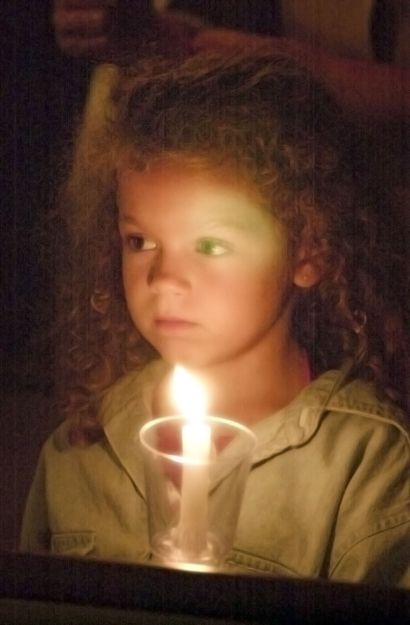Six-year-old Casey Lockard at a candlelight vigil at the First Presbyterian Church in Southampton on September 14, 2001.  DANA SHAW