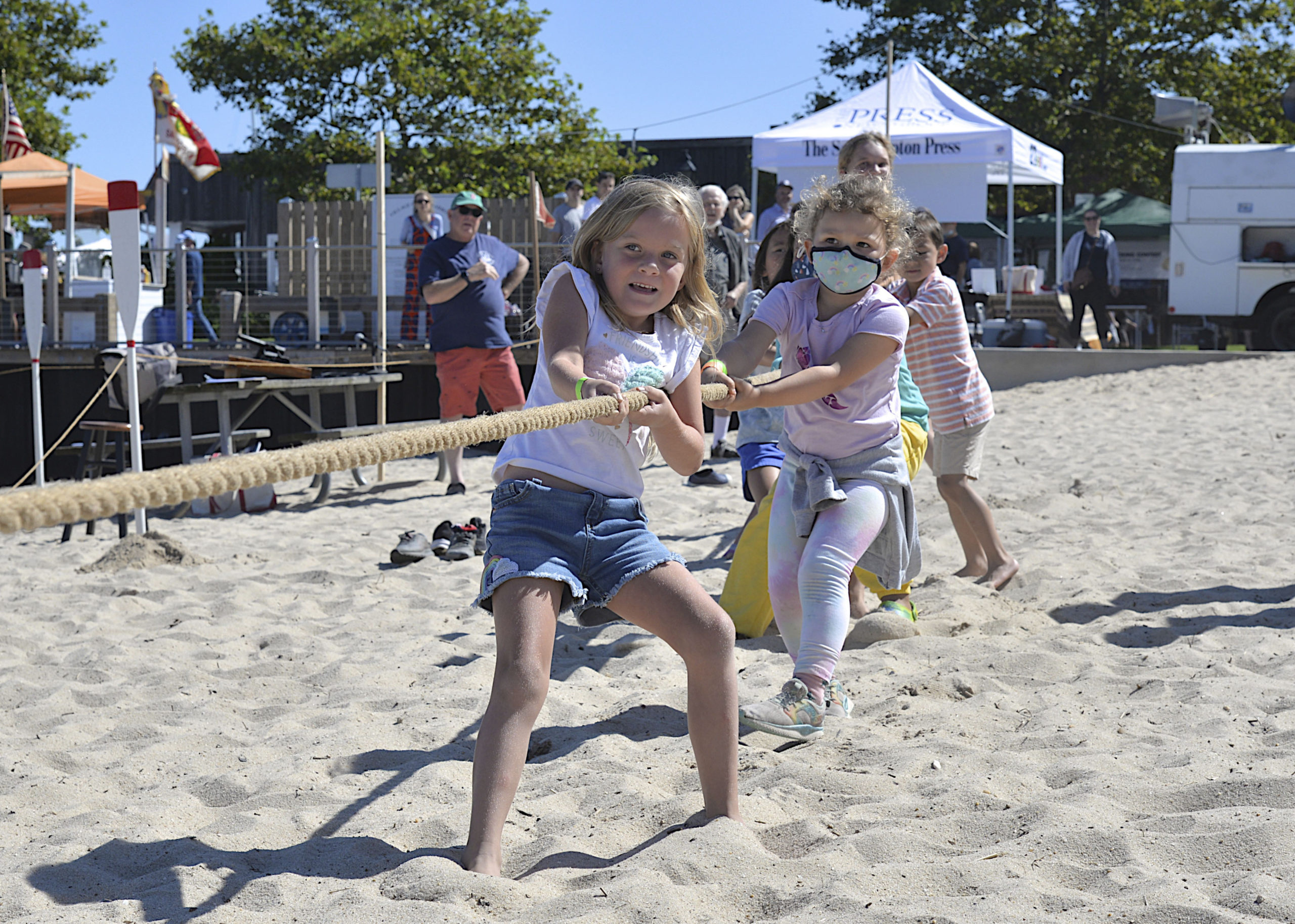 Kids during the tug--of-war at HarborFest on Saturday. KYRIL BROMLEY