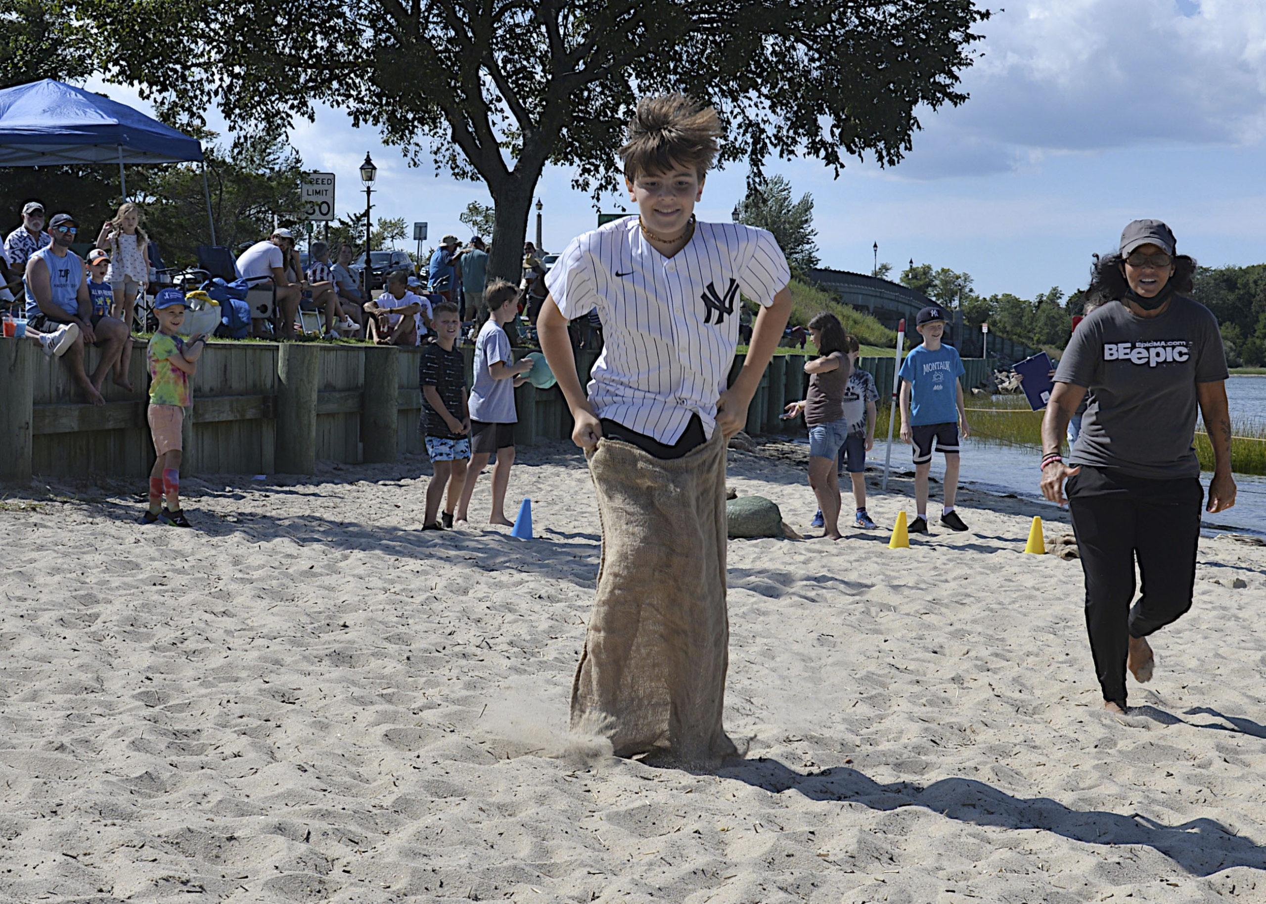 The potato sack races at Windmill Beach.  KYRIL BROMLEY