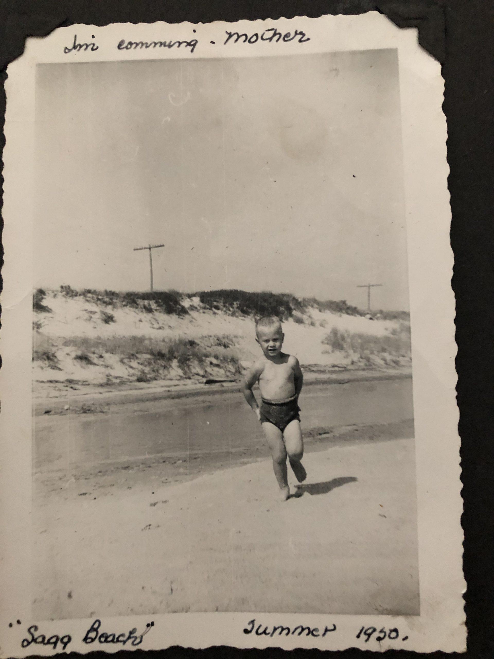 A young John Melillo on Sagg Main Beach in 1950.