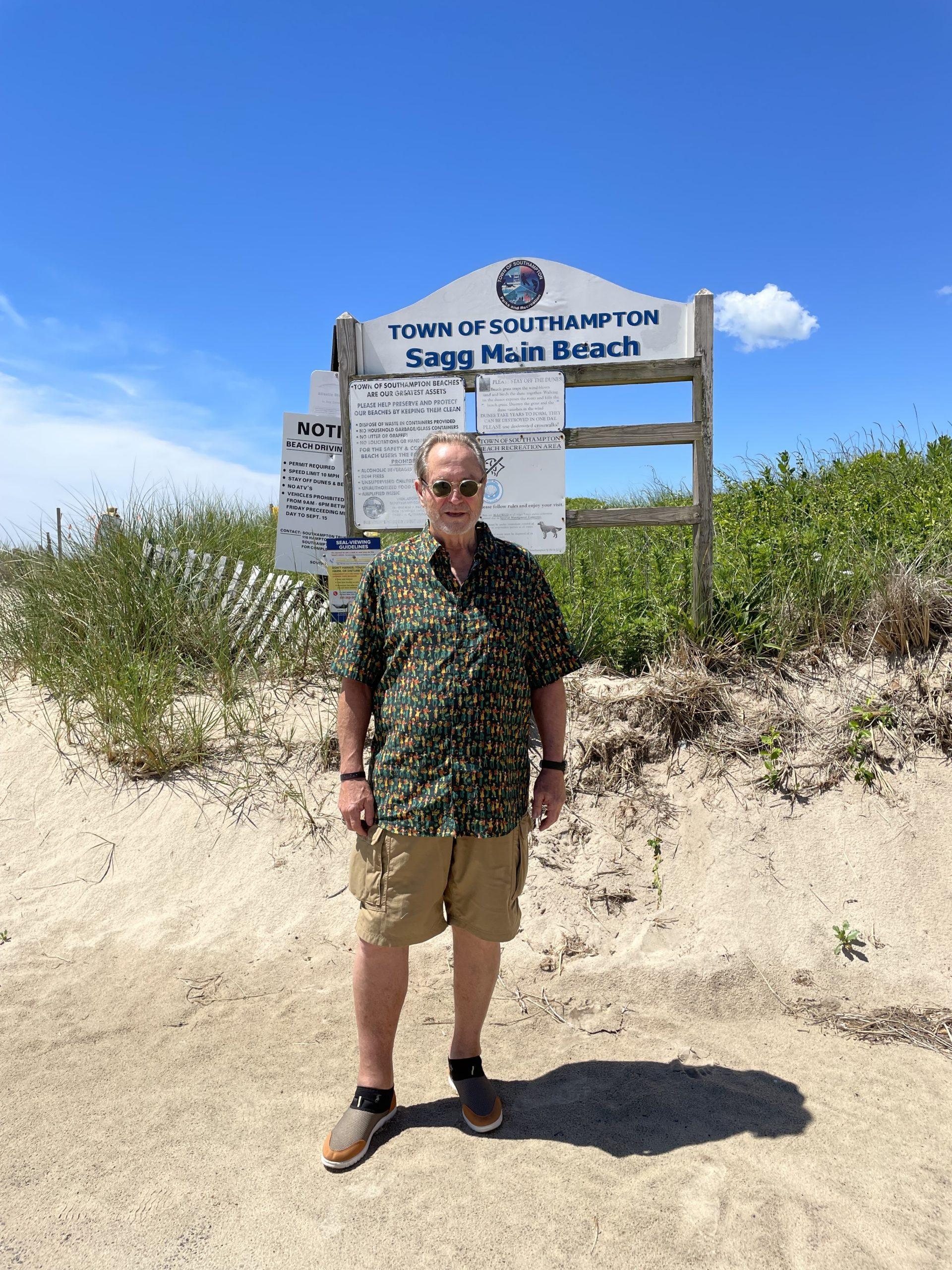 John Melillo back at Sagg Main Beach in June, 2021.