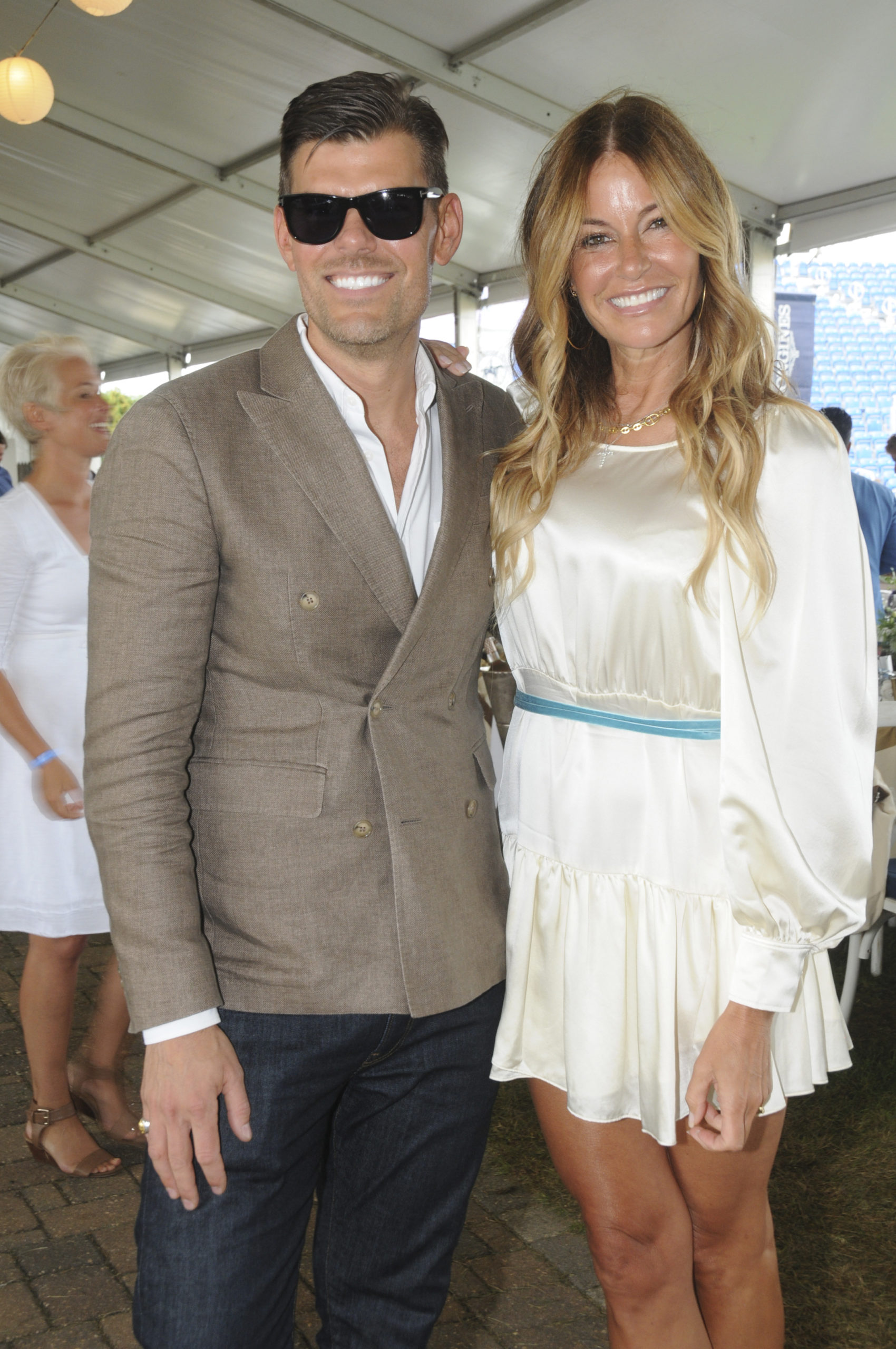 Lee Tucker and Kelly Killoren Bensimon in the tent at the Hamptons Classic Grand Prix on Sunday afternoon.  RICHARD LEWIN