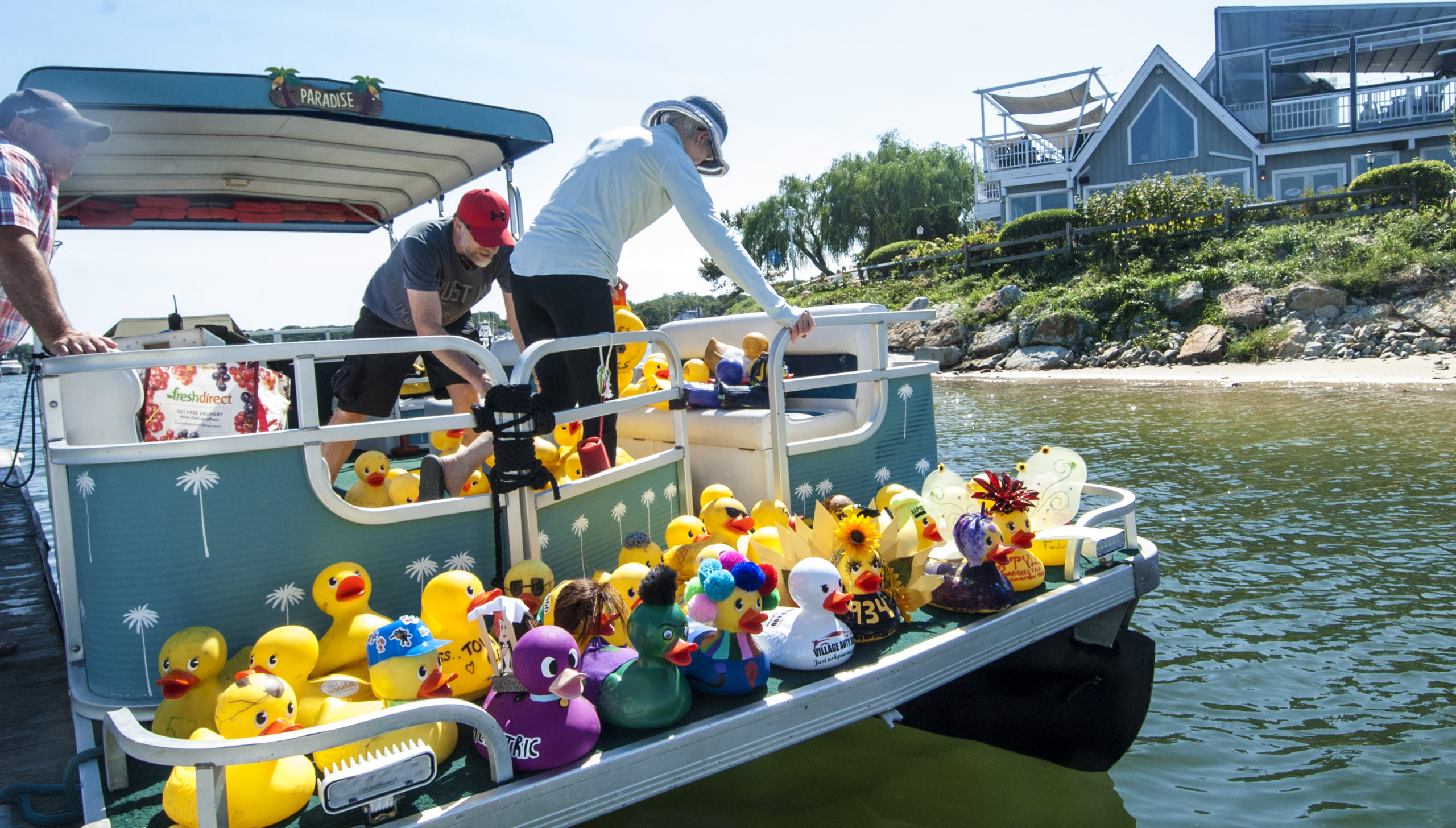Ducks on deck to race at the Hampton Bays civic Association Rubber Duck Race on Saturday afternoon.  COURTESY HAMPTON BAYS CIVIC ASSOCIATION