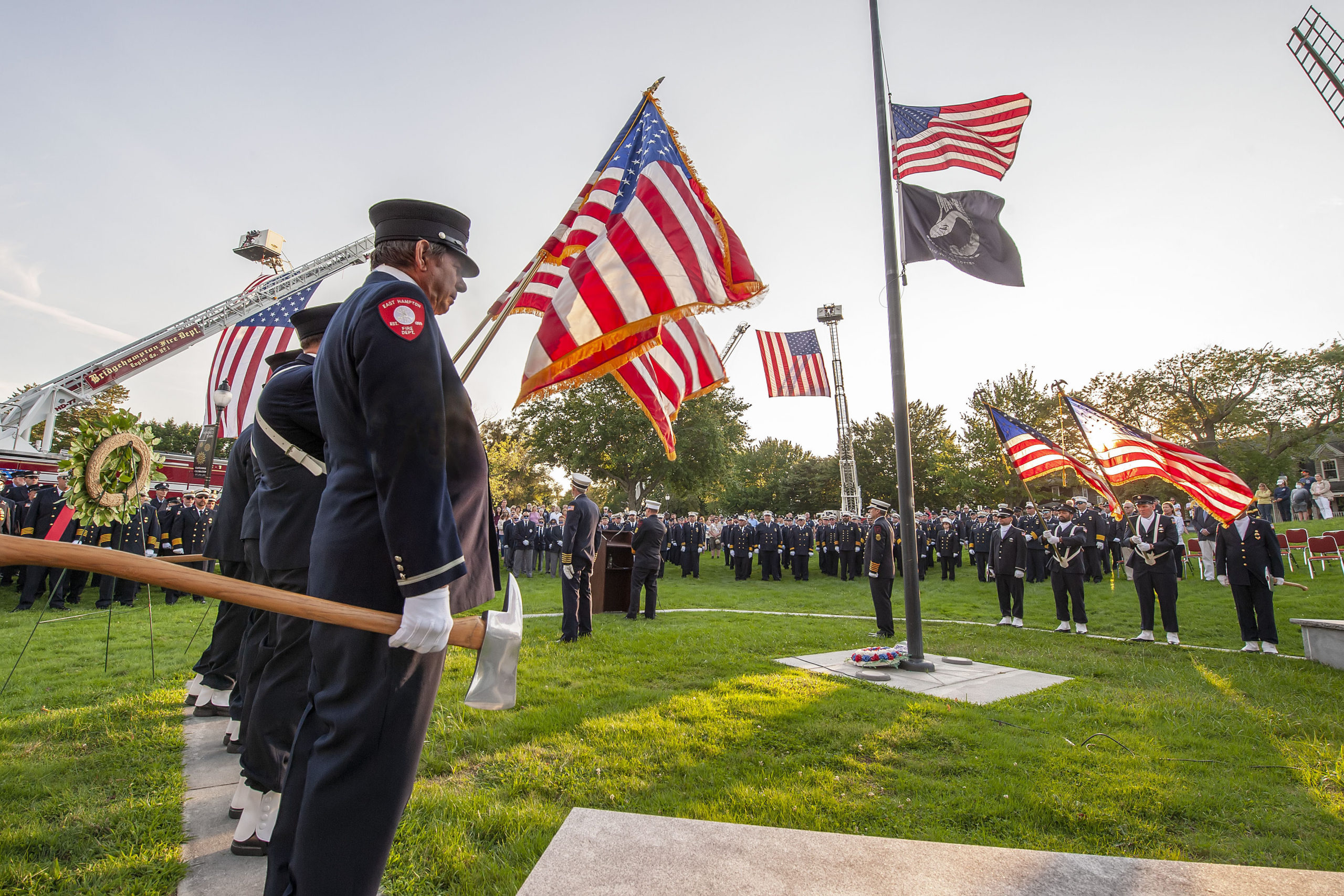 The ceremony commemorating the 20th anniversary of the attack on the World Trade Center, held on the Village Green in East Hampton and attended by 11 different East End fire, police and EMS agencies on Saturday afternoon.