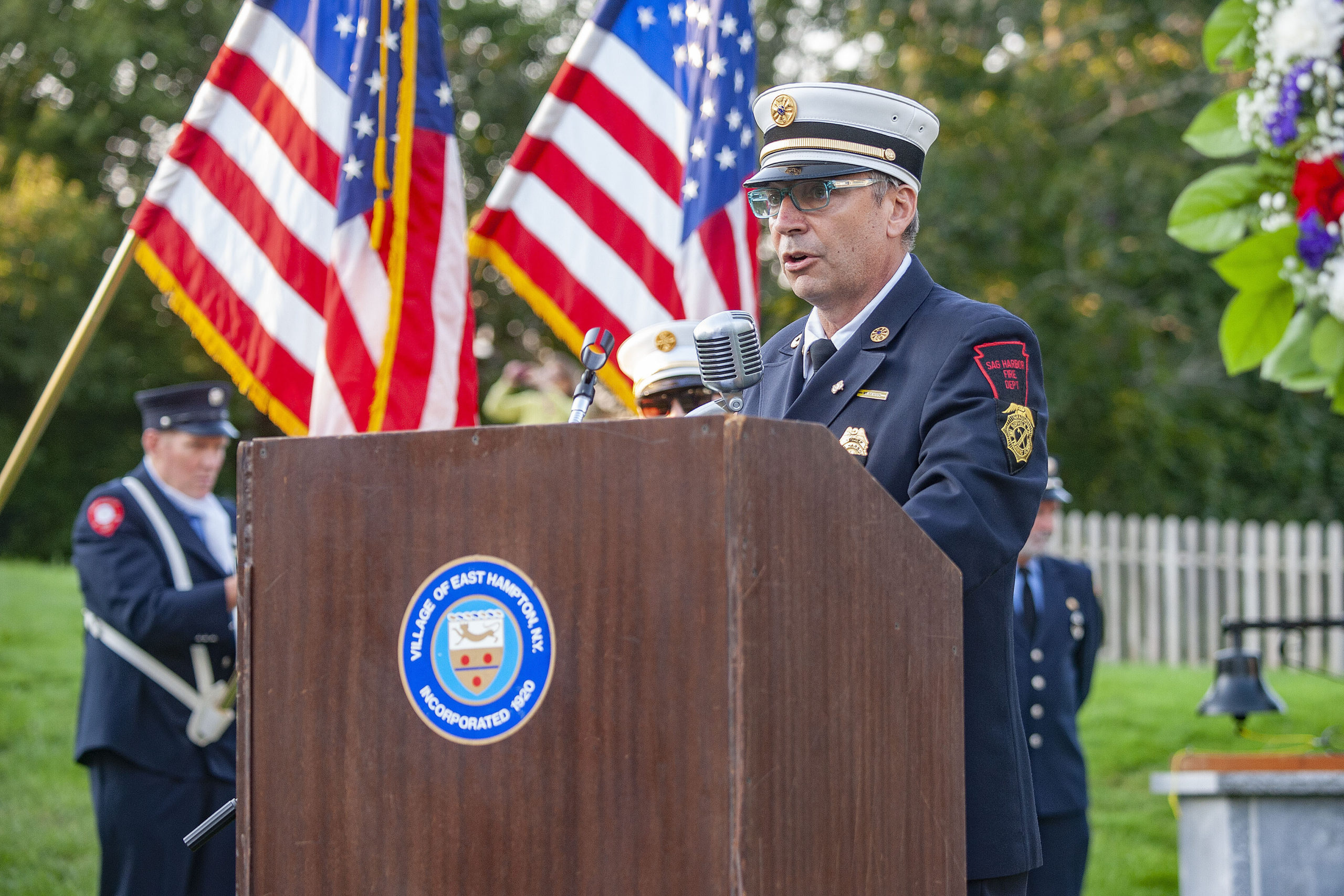 Sag Harbor Fire Department Ex-Chief Tom Gardella gave the Chaplain's address during a ceremony commemorating the 20th anniversary of the attack on the World Trade Center, held on the Village Green in East Hampton and attended by 11 different East End fire, police and EMS agencies on Saturday afternoon.