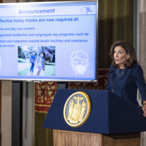 New York Governor Kathy Hochul delivers a COVID-19 update regrading mask-wearing for children 2 and older in state-regulated child care facilities from the Red Room at the State Capitol September 15. MIKE GROLL/OFFICE OF GOVERNOR KATHY HOCHUL