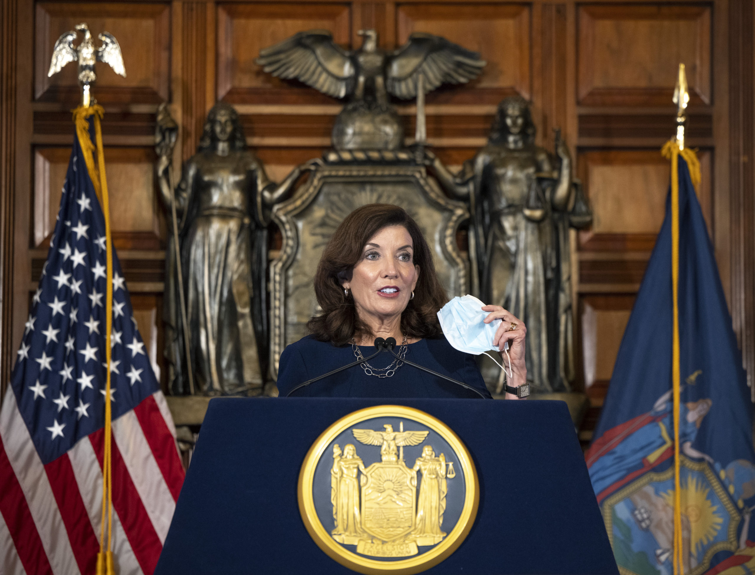 New York Governor Kathy Hochul delivers a COVID-19 update in the Red Room at the State Capitol September 15. MIKE GROLL/OFFICE OF GOVERNOR KATHY HOCHUL