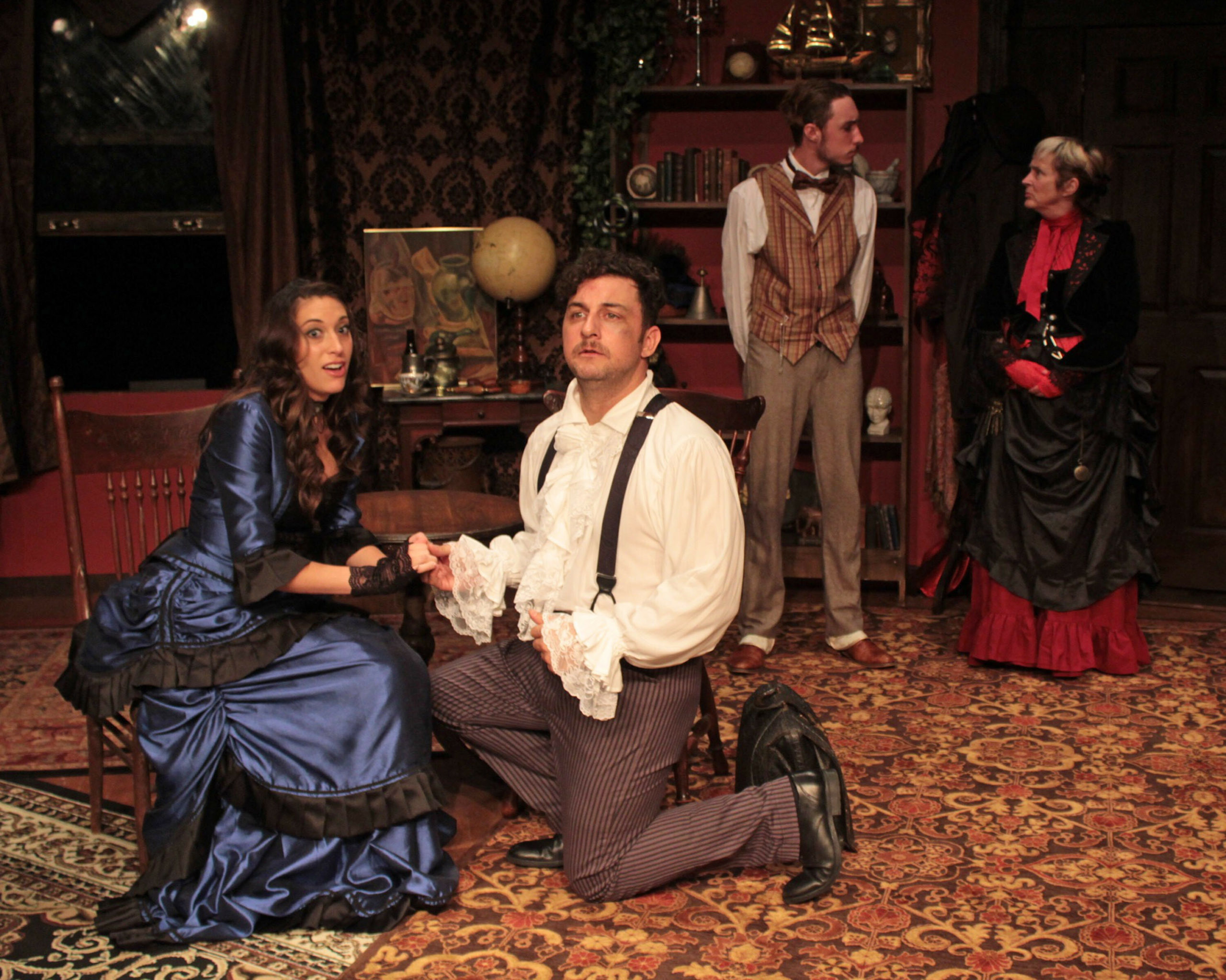 """From left, Alyssa Kelly, Tom Rosante, Lance Schroeder and Bonnie Grice in """"Sherlock's Secret Life"""" at SCC."""