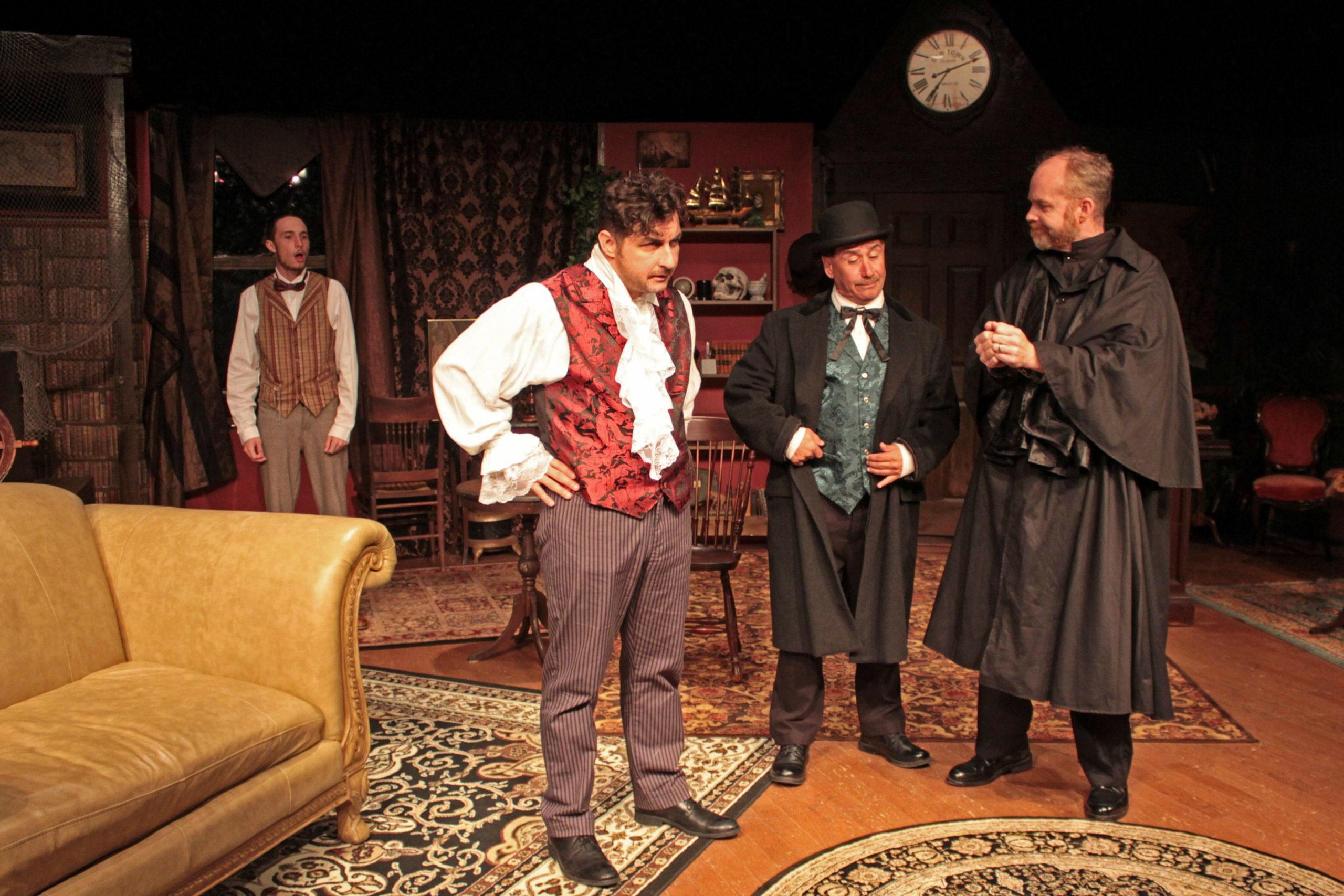 "From left, Lance Schroeder, Tom Rosante, Richard Gardini and Mark Heidemann in ""Sherlock's Secret Life"" at SCC."