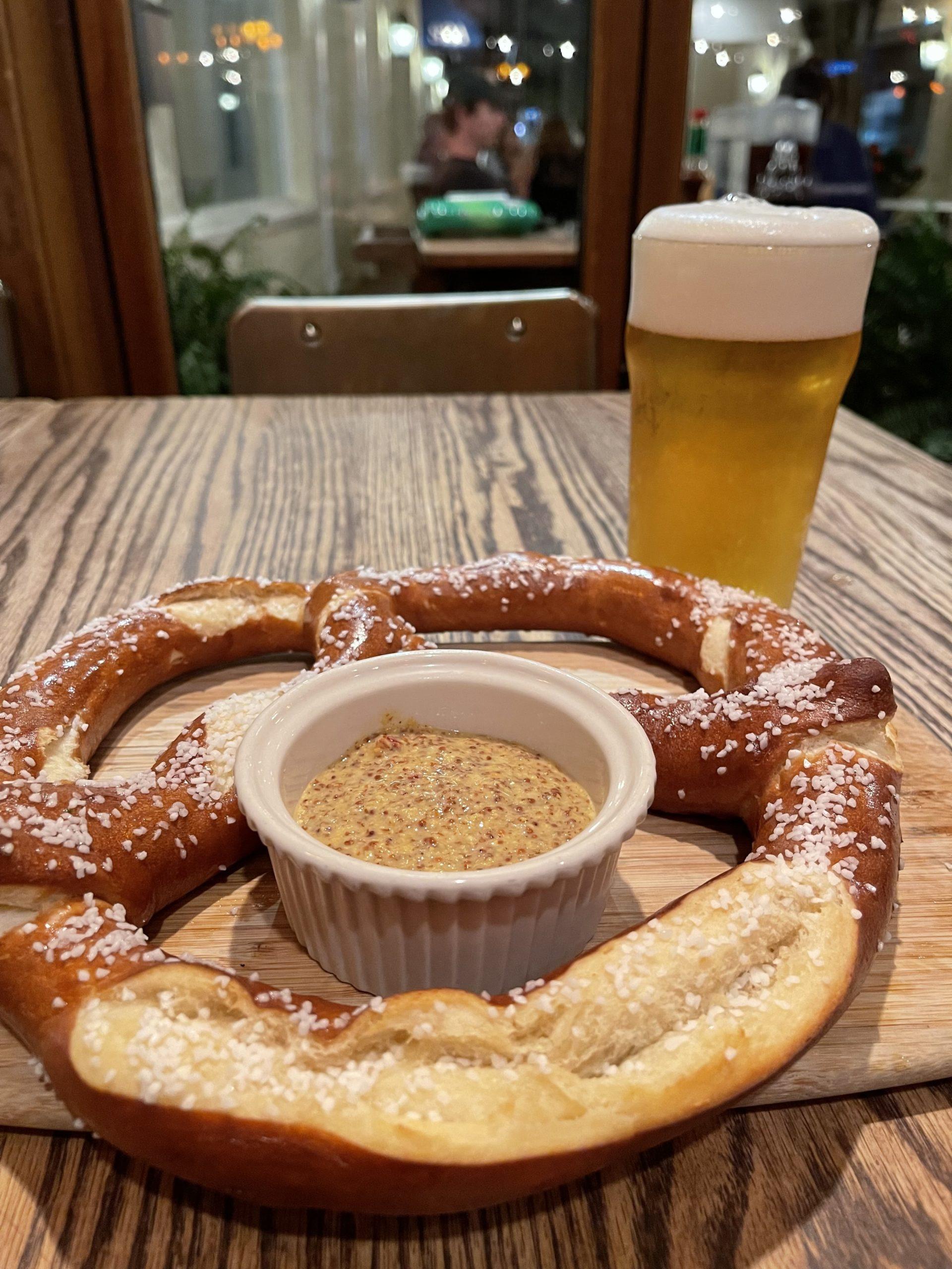Enjoy a Bavarian pretzel and a beer at Rowdy Hall for Oktoberfest.