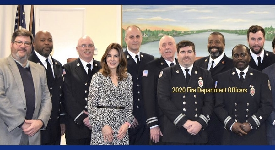 Kimberley Allan, with members of the Southampton Village Fire Department.