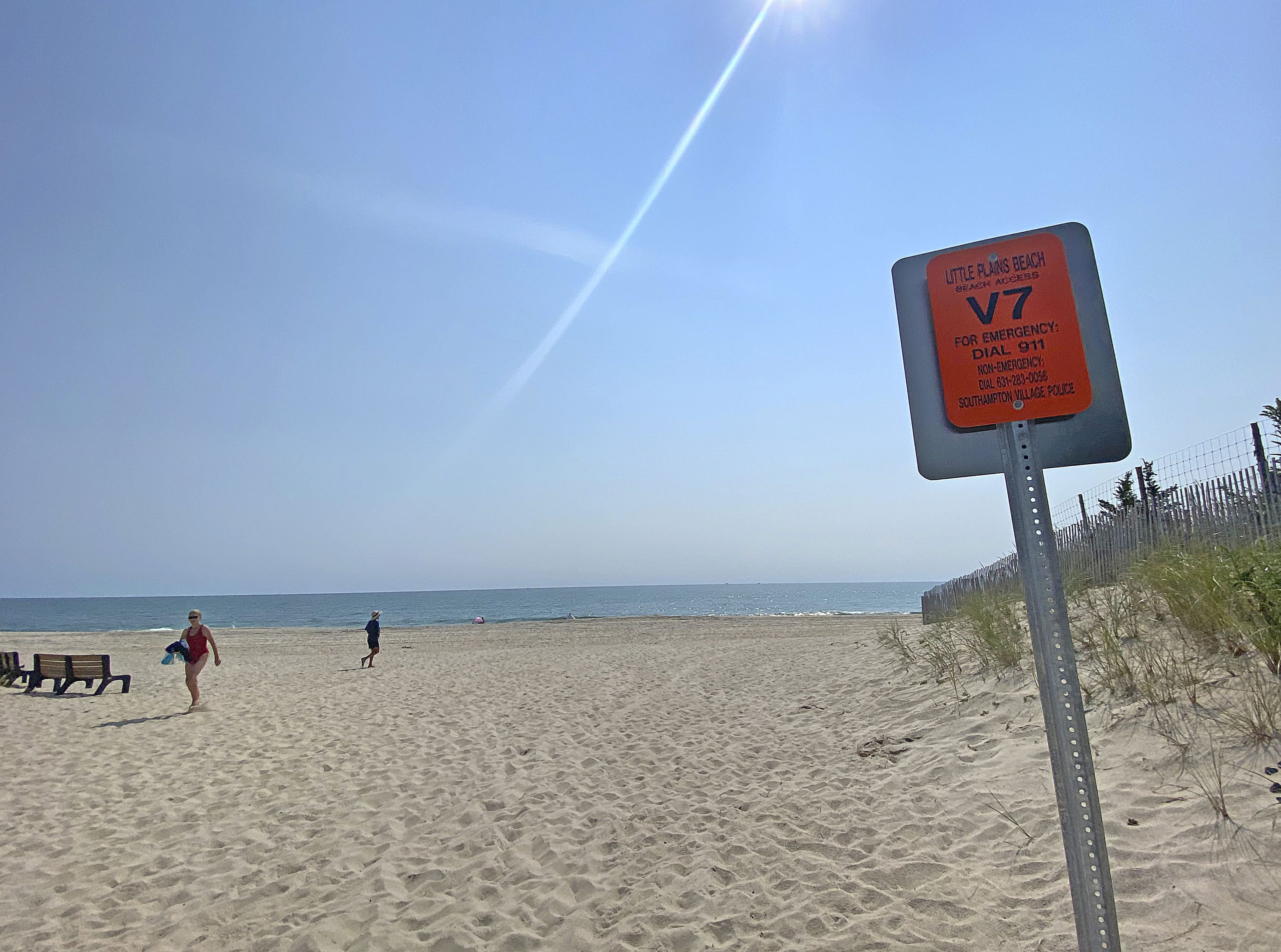 One of the new ocean rescue signs at Little Plains Beach in Southampton Village.  DANA SHAW