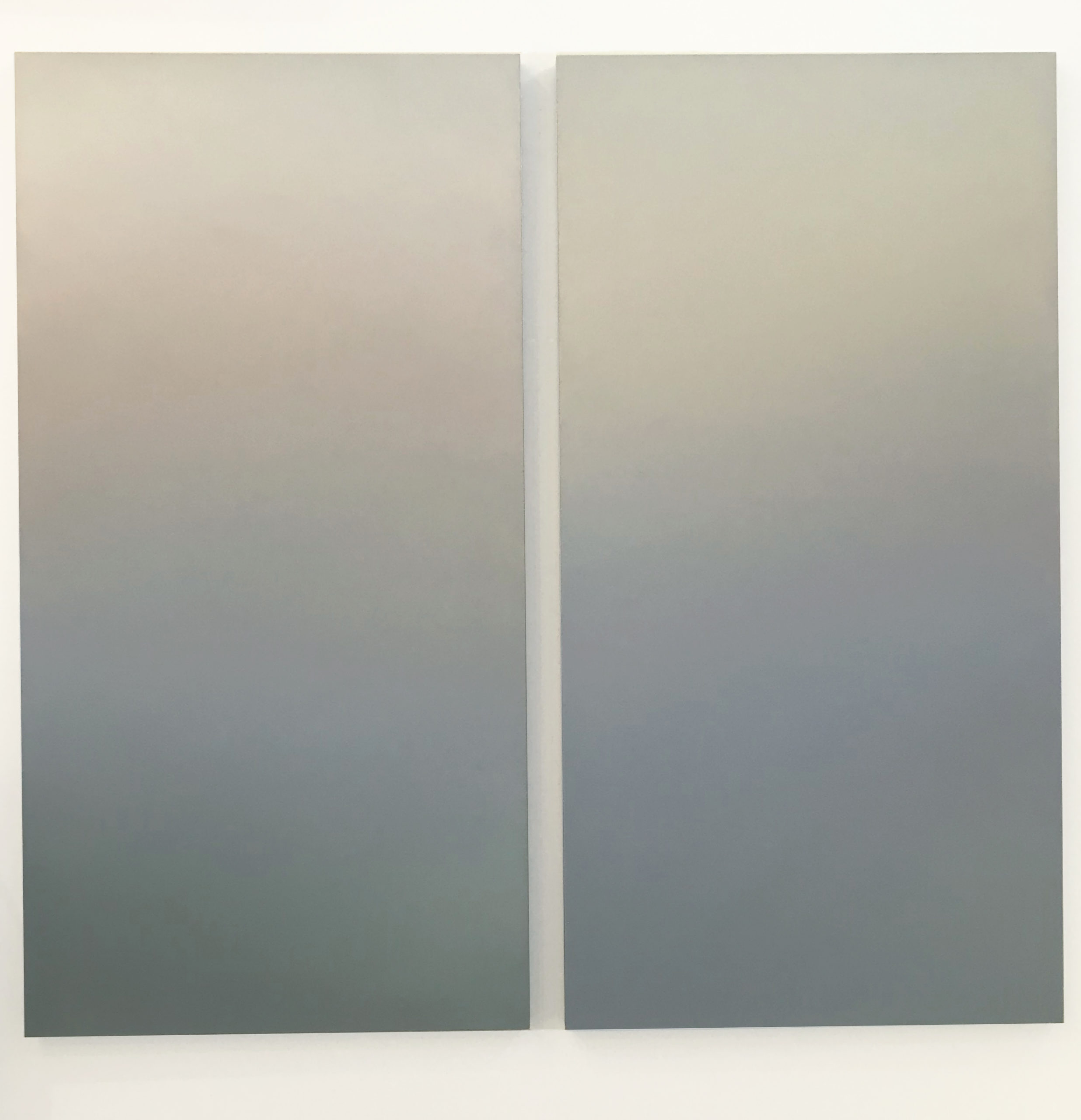 """Mary Boochever """"Inner Landscape Gamma,"""" 2021. Pigments and acrylic on canvas, diptych, 72"""" x 76 ¾"""" overall."""