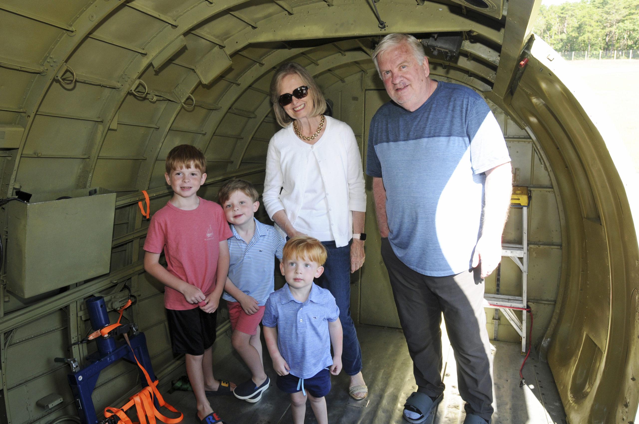 James Sirkin, Charlie Sirkin, Eileen Walsh and Brian Walsh and Teddy Sirkin at  the East Hampton Aviation Association's
