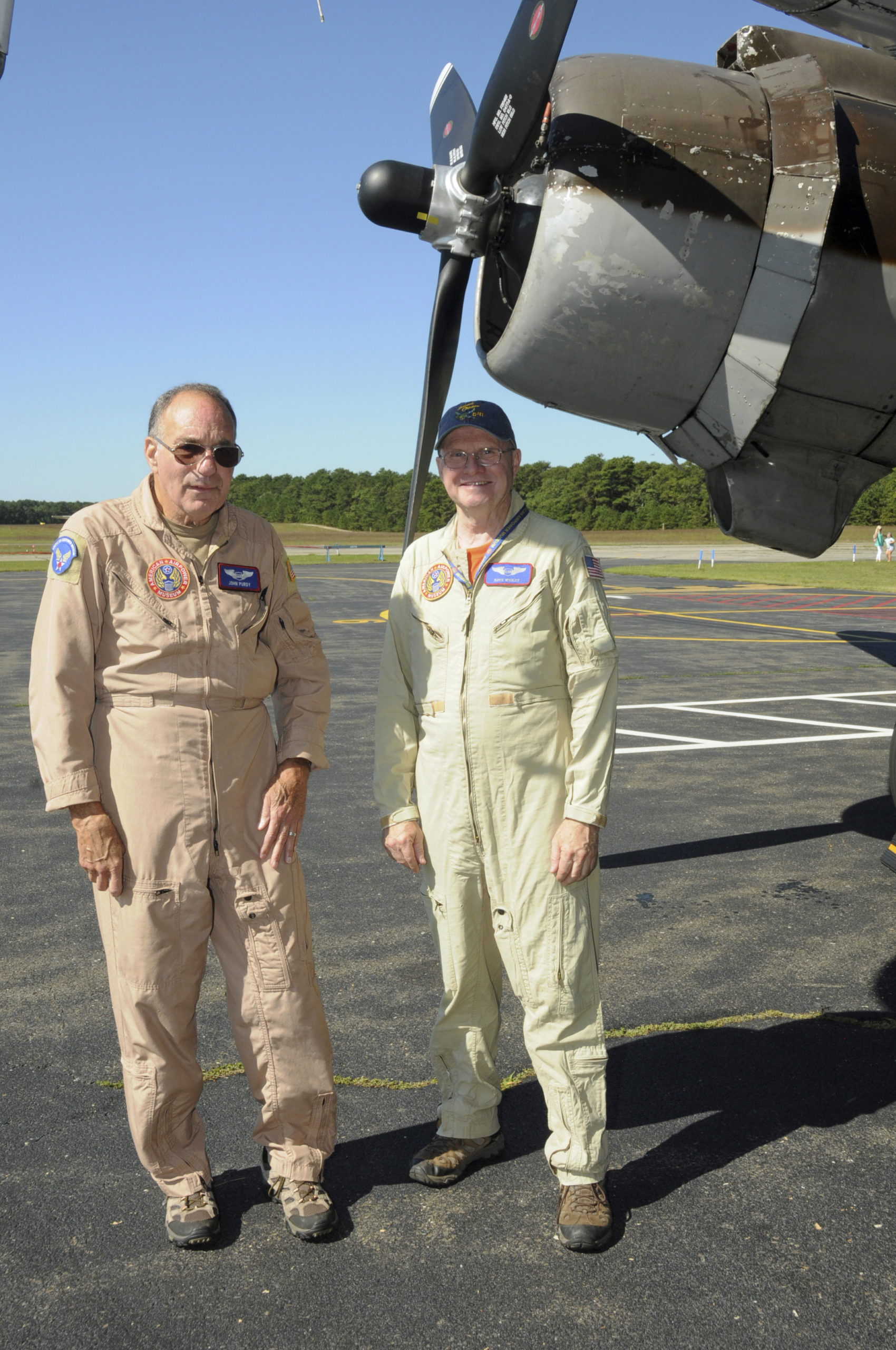 Pilots John Purdy and Dave Wigley flew their plane from Farmingdale to the East Hampton Aviation Association's