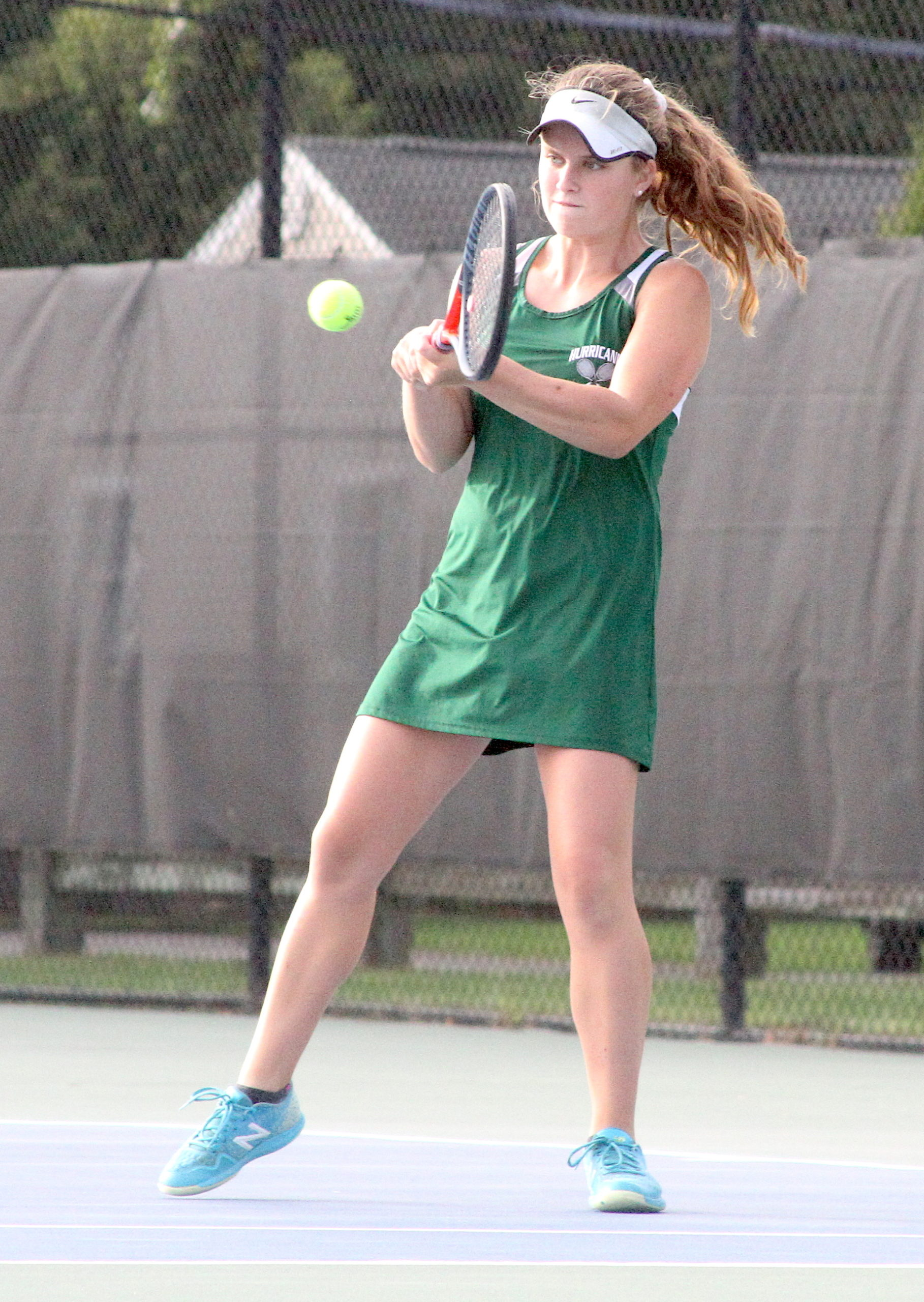 Westhampton Beach senior Katelyn Stabile connects with the ball at No. 2 singles. DESIRÉE KEEGAN