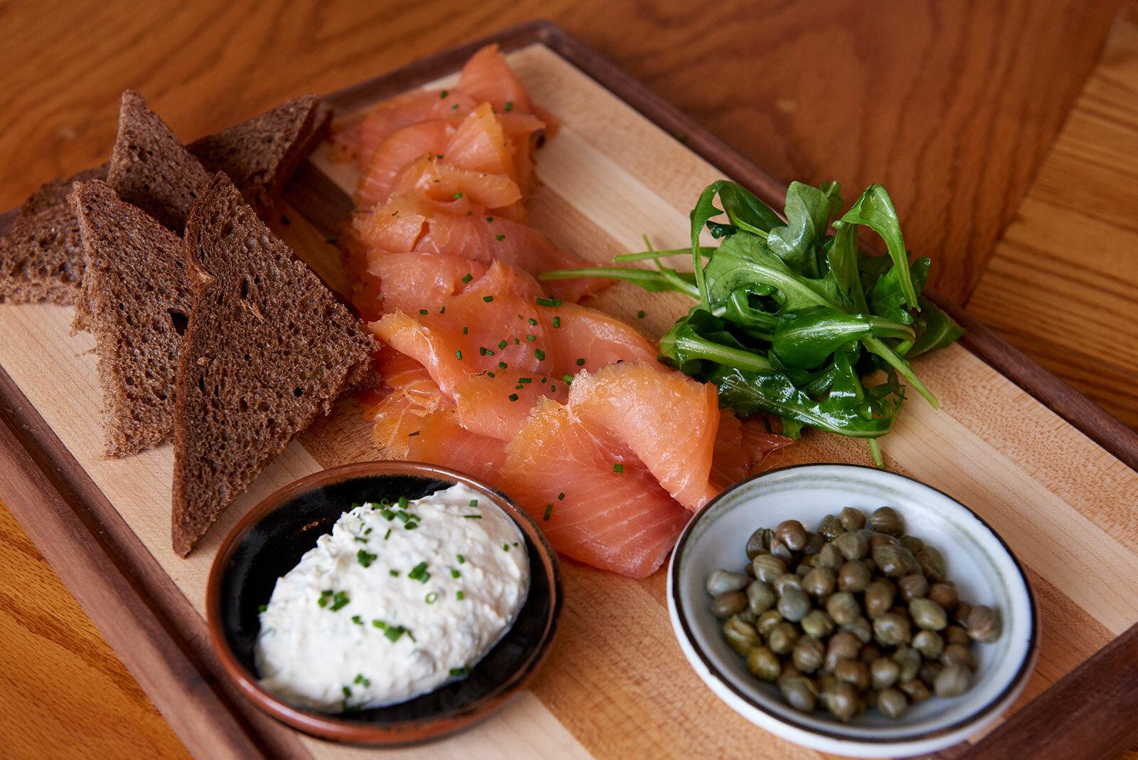 Main Street Tavern's house-cured salmon platter.