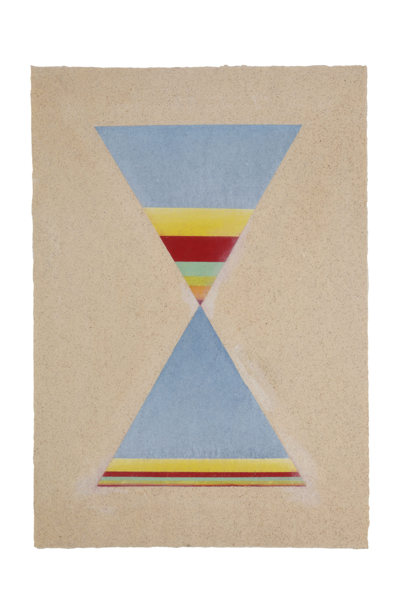 """Mary Boochever """"Man Hour,"""" 1989. Pigment, chalk, and acrylic on paper, 26 ½"""" x 20""""."""