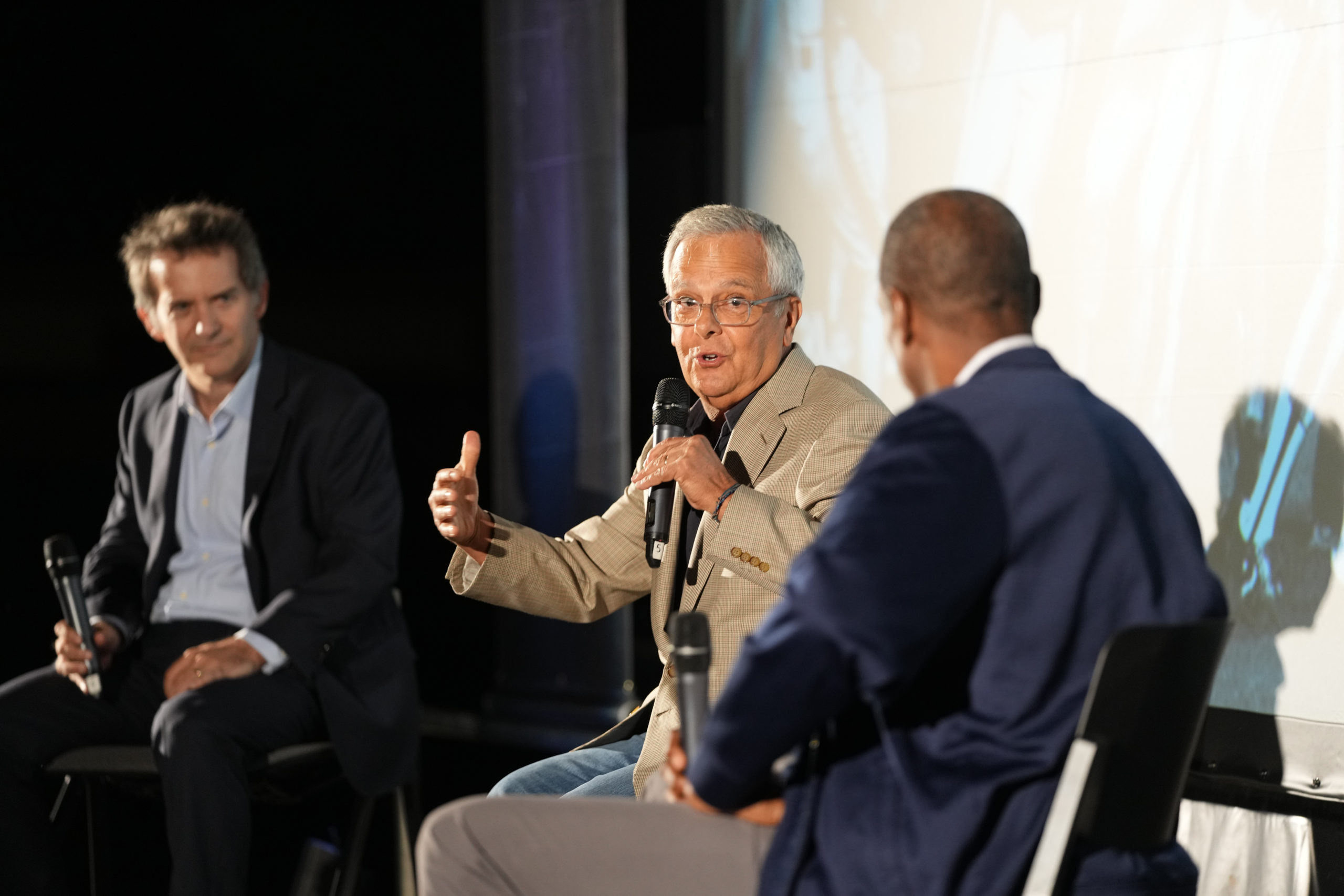 Mike Lupica leads a panel discussion with Dwight Gooden and Nick Davis.