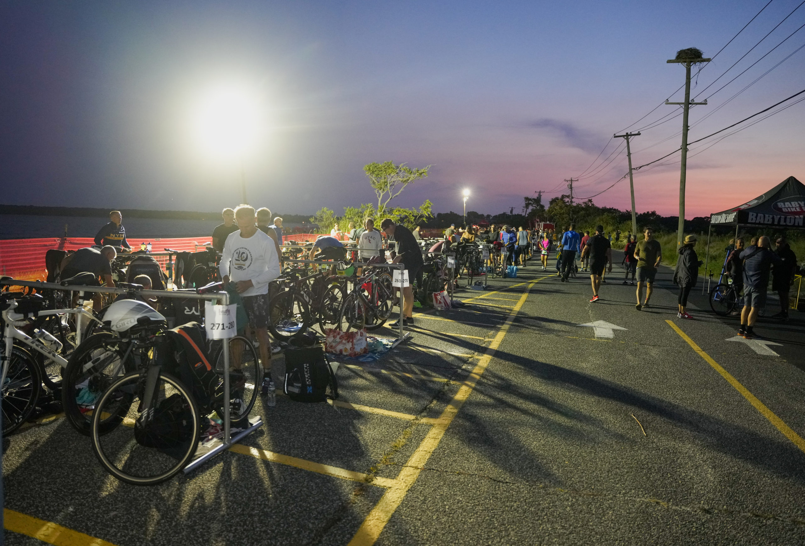 Triathletes were up early to get ready for Sunday morning's race at Long Beach.
