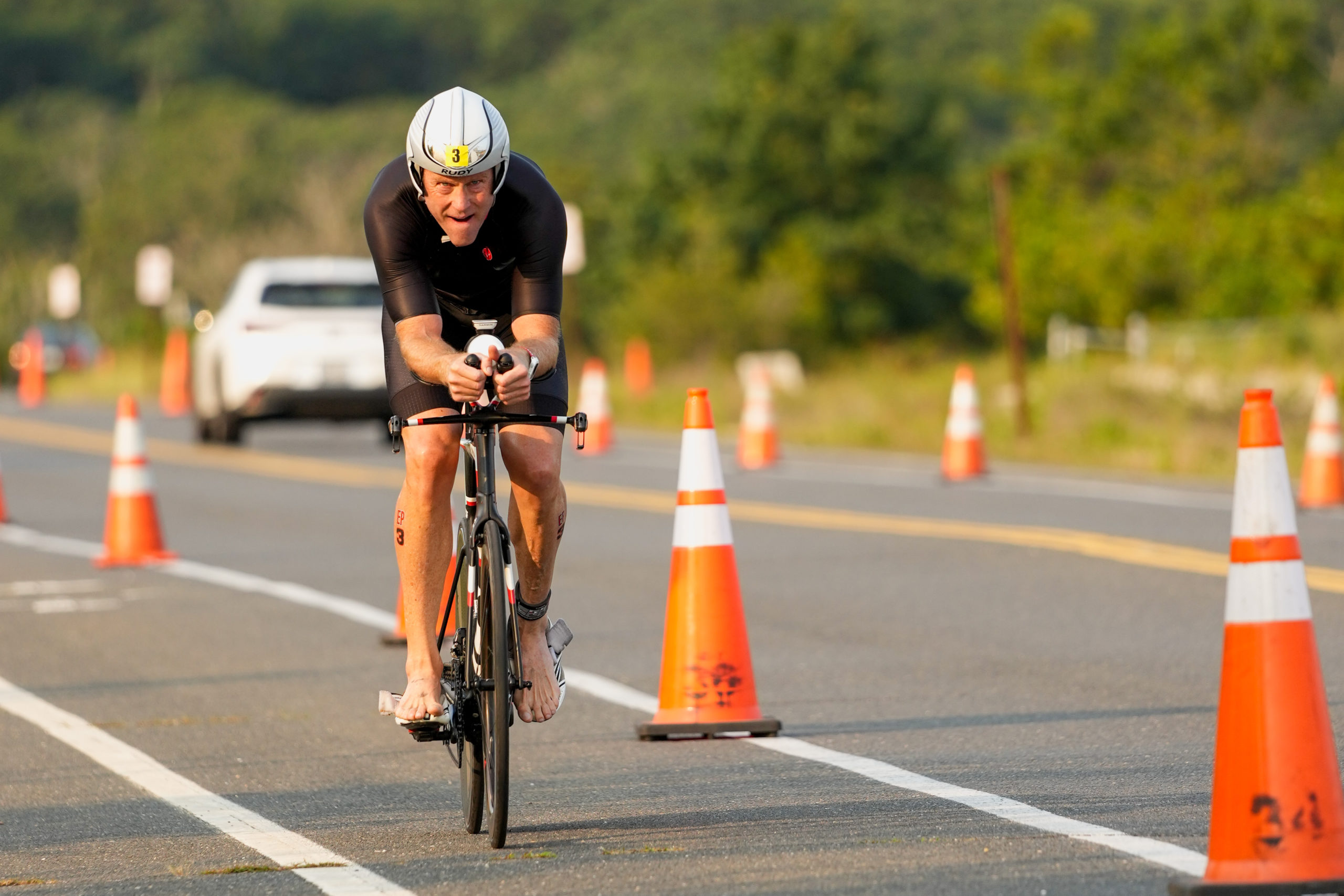 Sam Martini in the bike portion of the race.