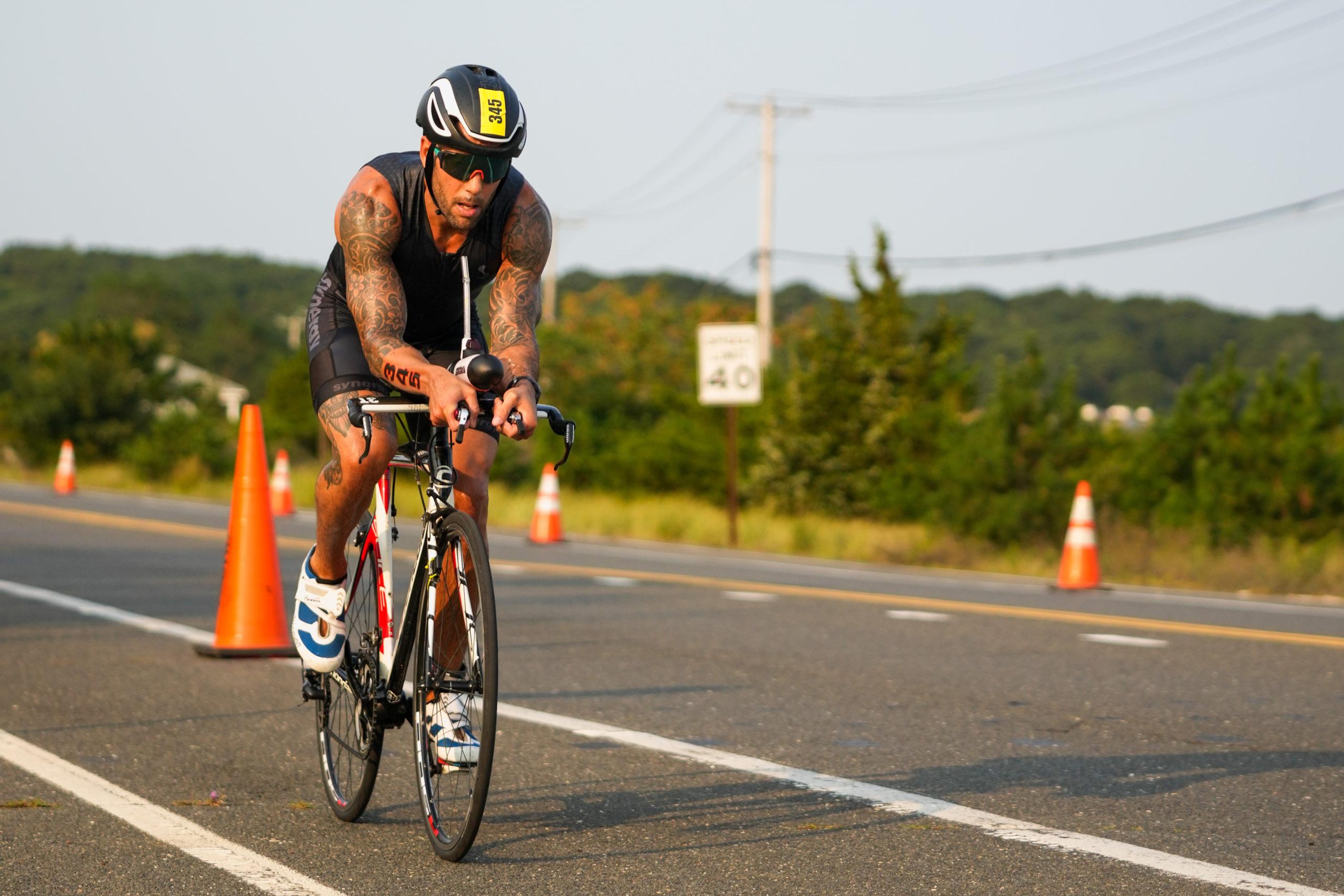 Neil Falkenhan in the bike portion of Sunday's race.
