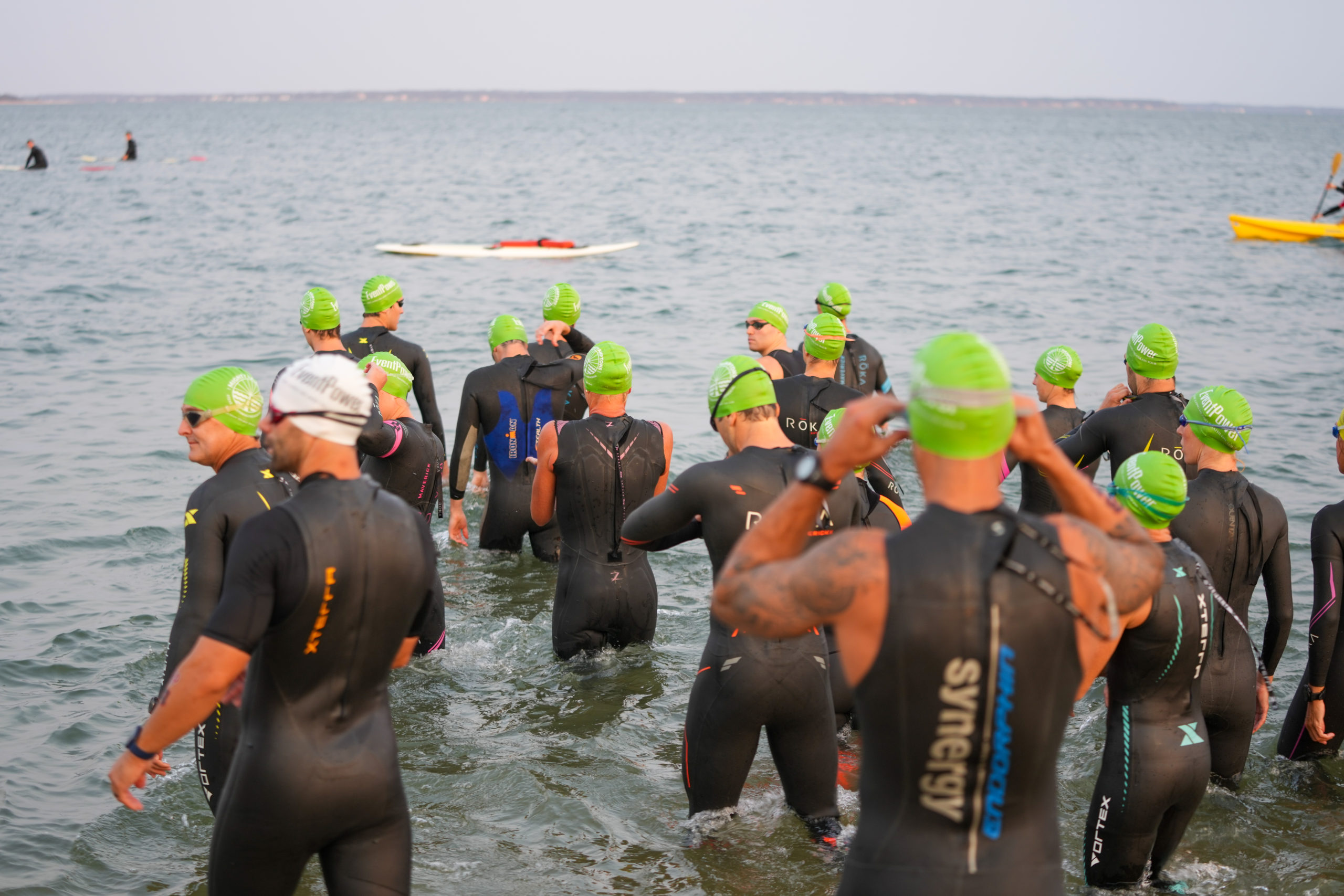 Triathletes gets ready for Sunday morning's race.