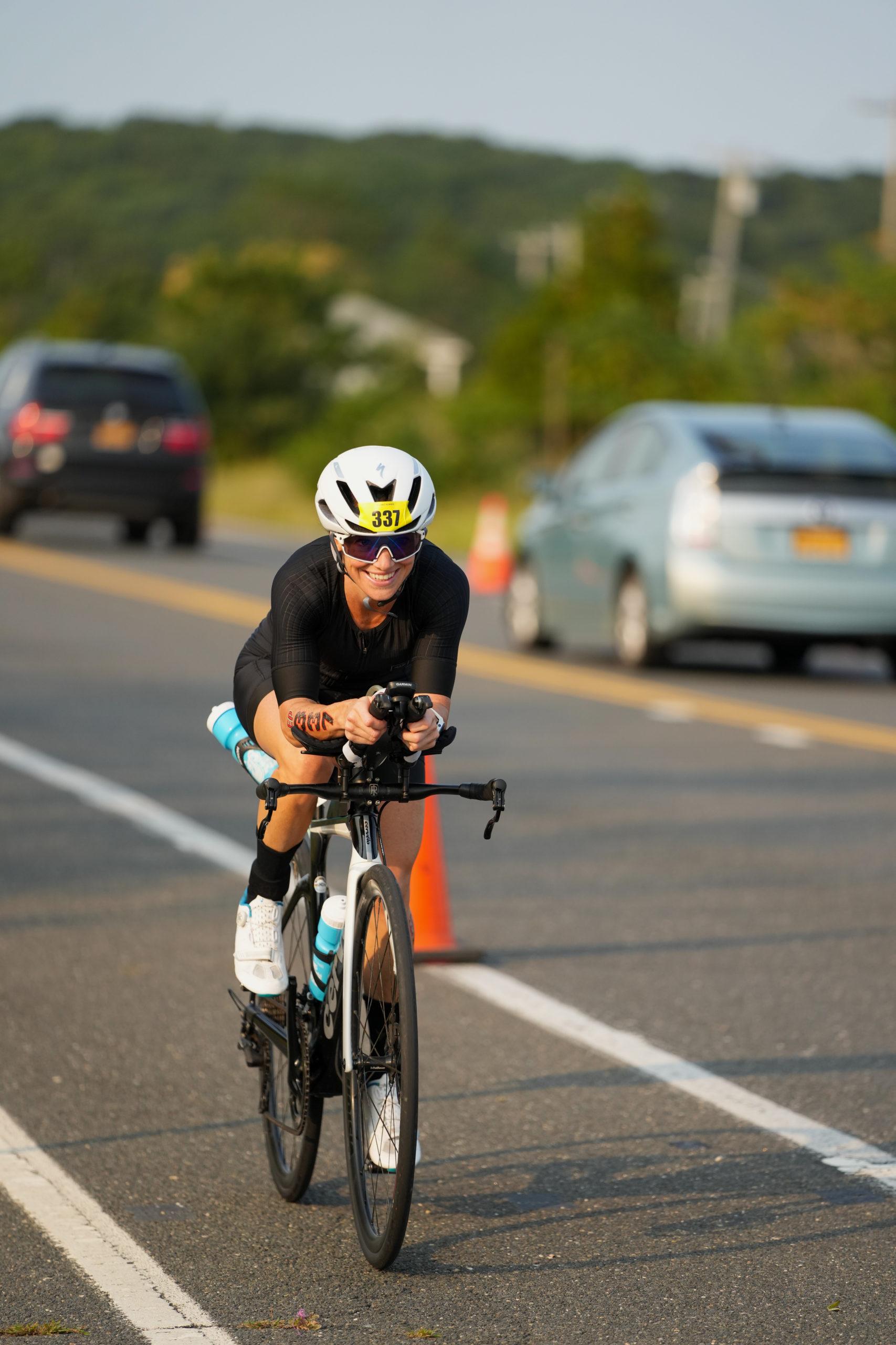 Alanna Hollborn in the bike portion of the triathlon.