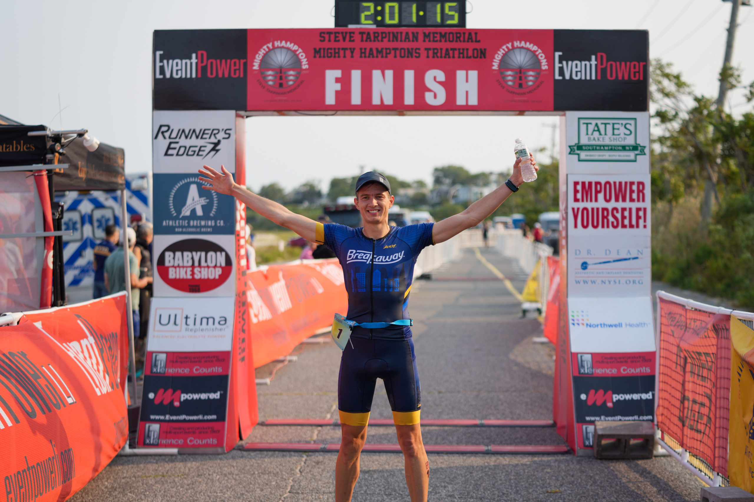 Roman Fedosieiev was the overall champion of the Mighty Hamptons Triathlon, which was Sunday morning at Long Beach in Noyac.