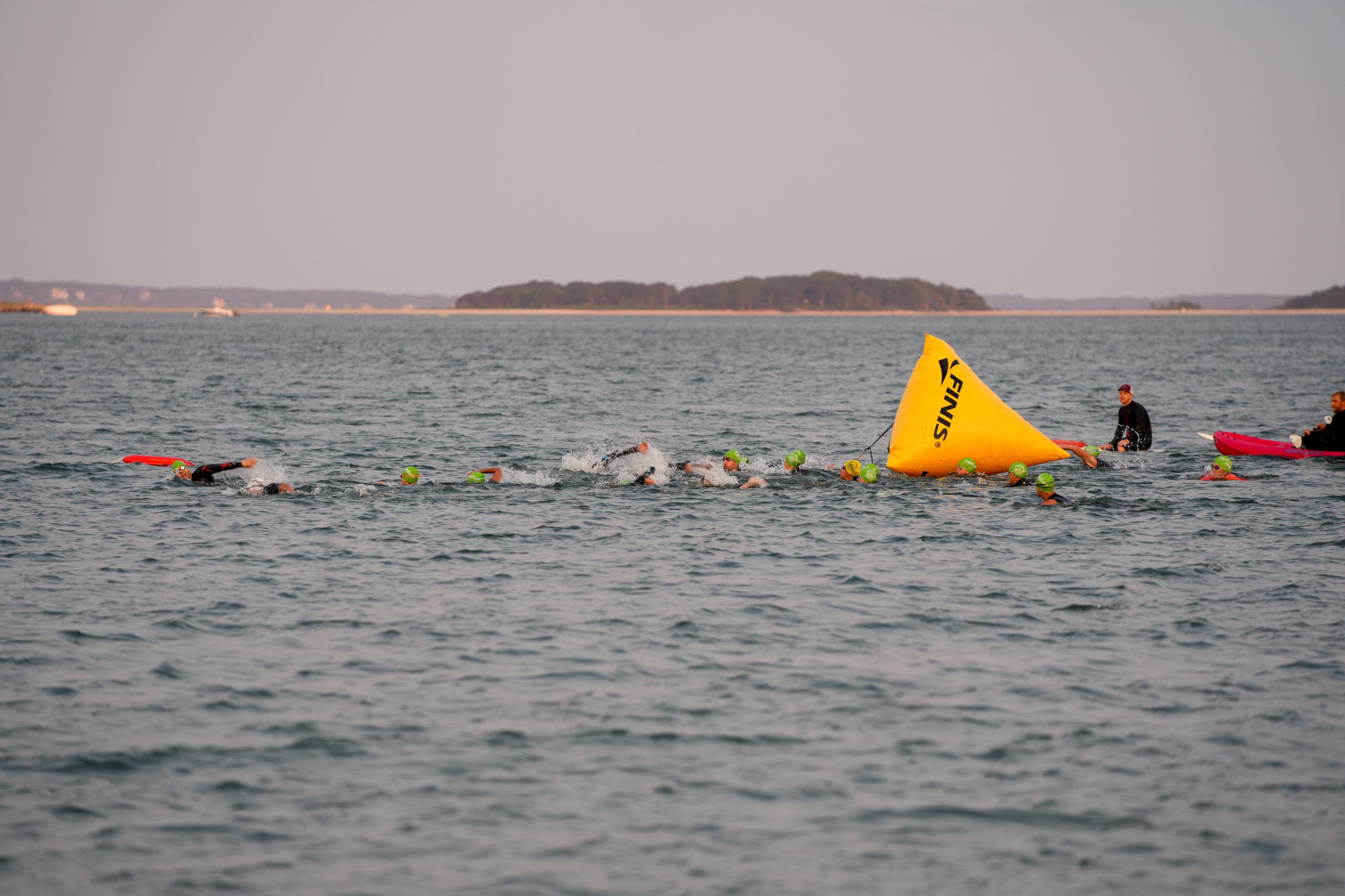 The Mighty Hamptons Triathlon began with a 1.5-mile swim along Long Beach on Sunday morning.