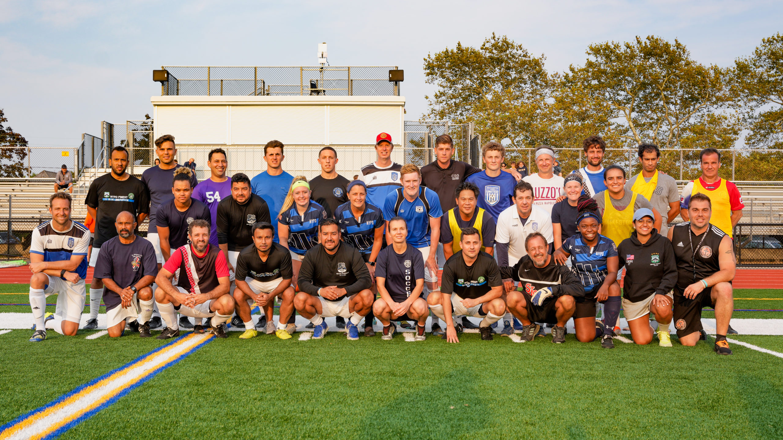 Colonial Sports Group, a local travel soccer program based in Southampton, and the NYPD soccer team played a charity soccer game on Sunday evening at Southampton High School.