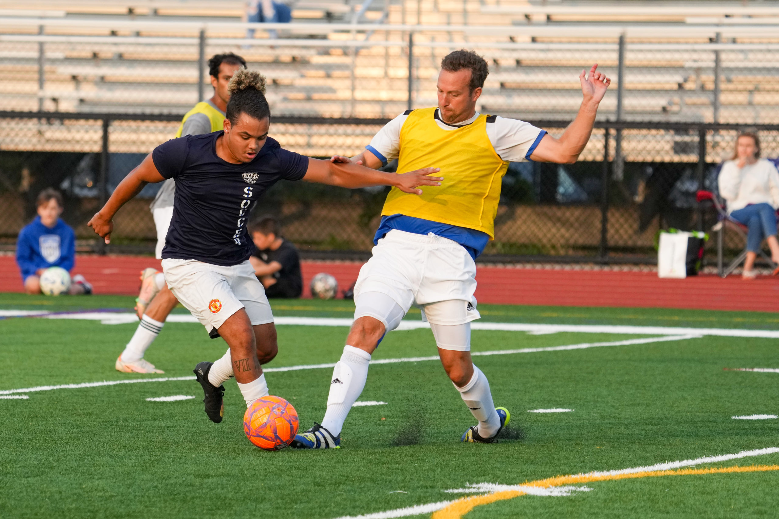 Colonial Sports Group coaches played a game against players from the New York's Finest Soccer Club.