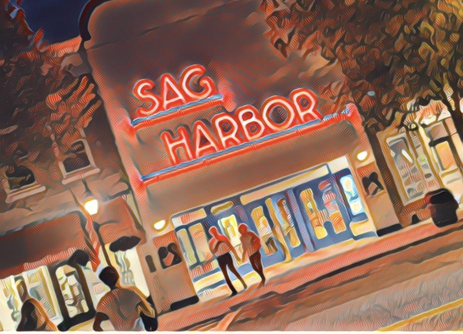 Roger Sichel painting of Sag Harbor Cinema.