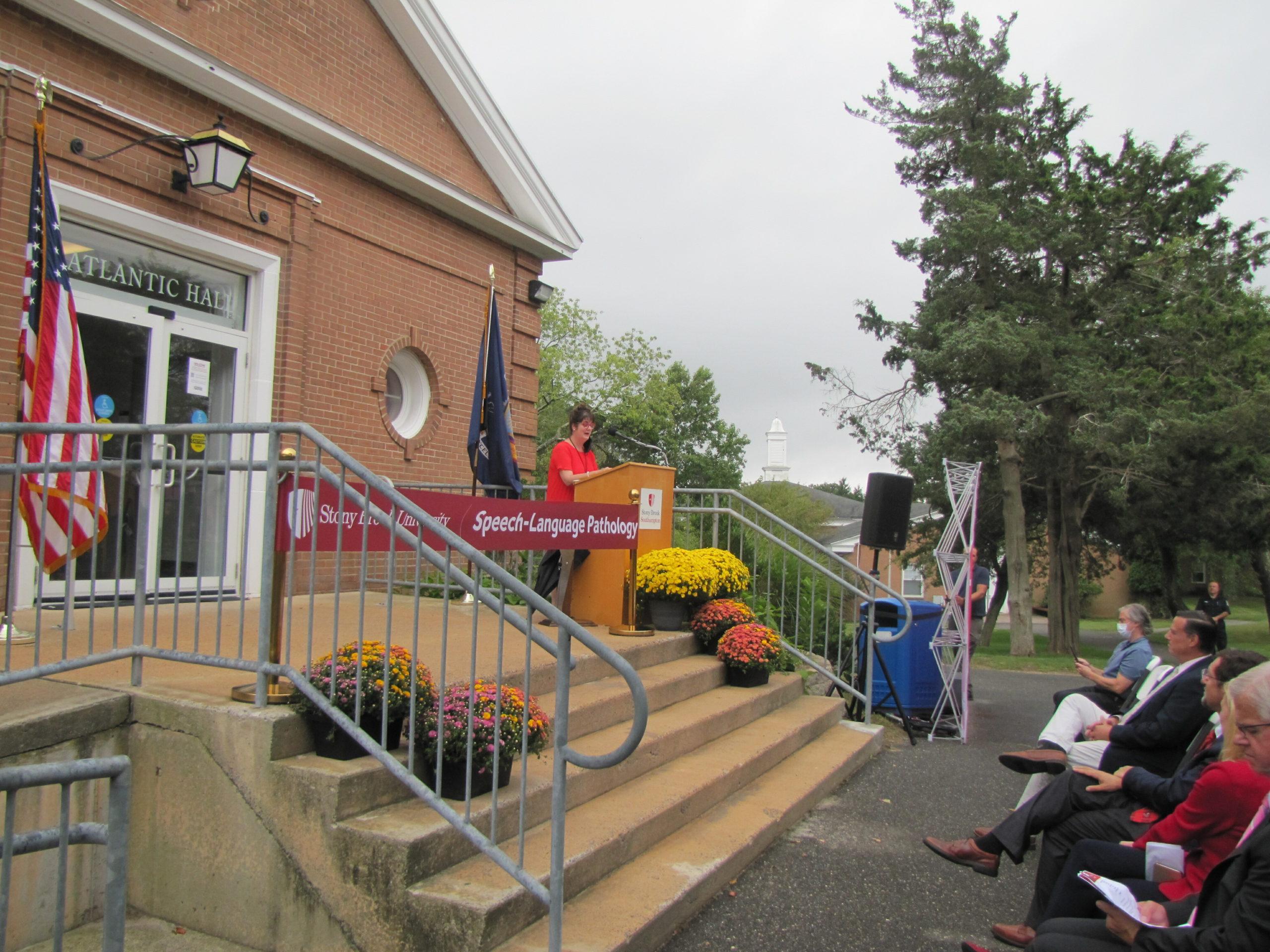 Stony Brook University officially opened its Speech-Language Patholgy Program's new center in the Atlantic Building at the Stony Brook Southampton campus on Friday.