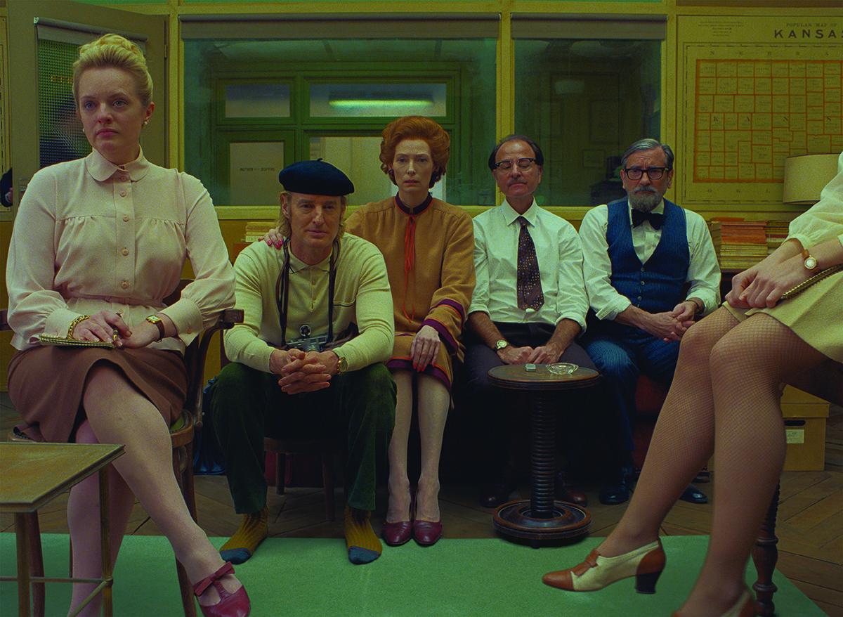 From left, Elisabeth Moss, Owen Wilson, Tilda Swinton, Fisher Stevens and Griffin Dunne in the film