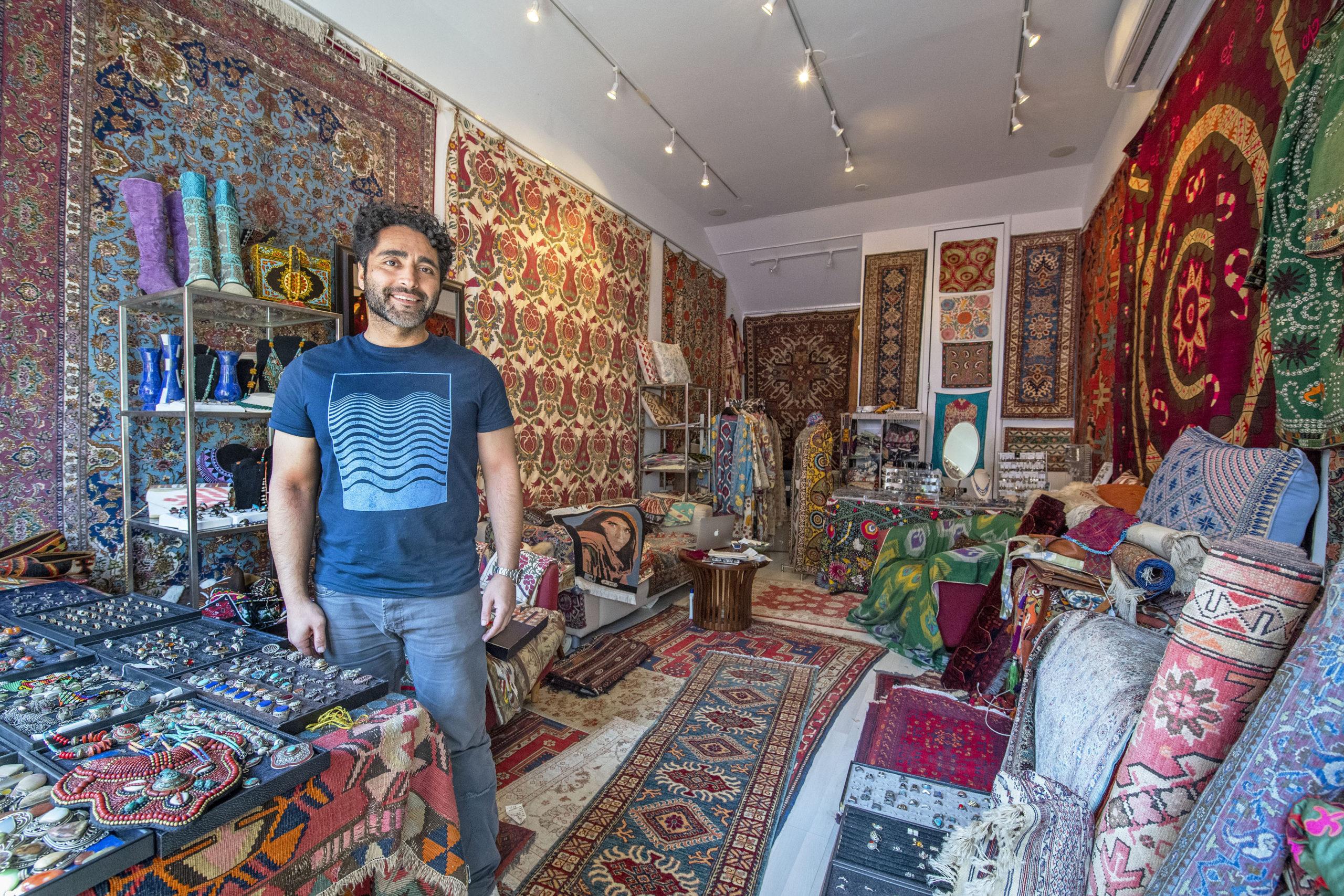 Temur Zamani, proprietor of Zamani House of Heritage, photographed in his Sag Harbor store.  MICHAEL HELLER