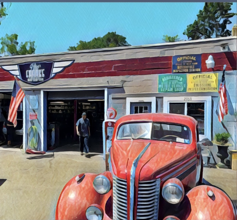 Roger Sichel's painting of Greg's Garage on Noyac Road.